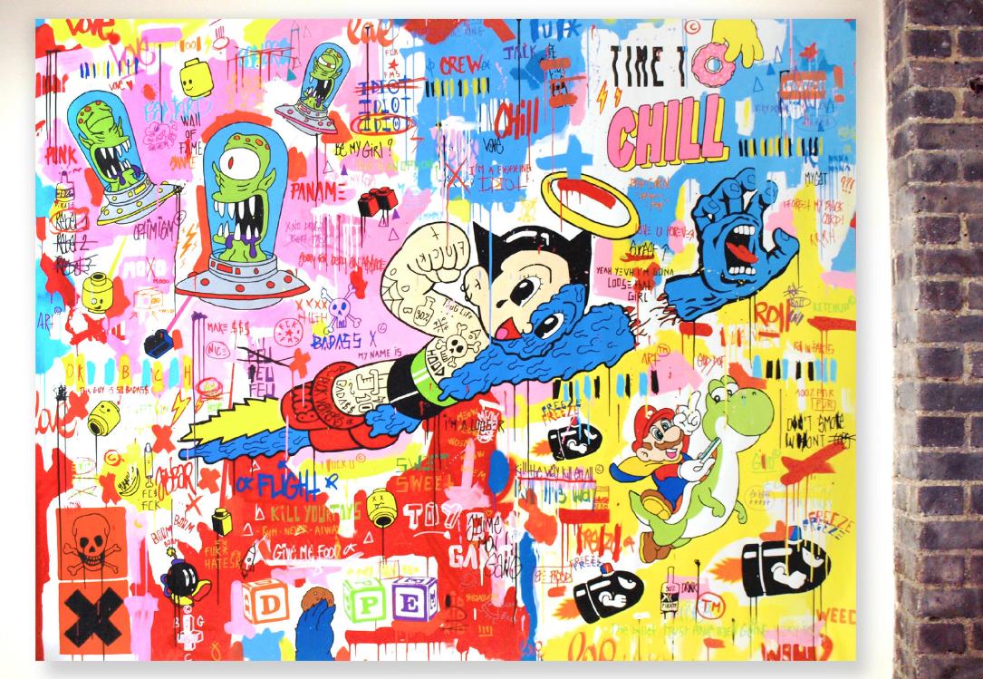 CHILL - exposé en 2016 au Museum of Art and History de Santa Cruz, Caliornie - 2015- 210x170cm - Acrylique, bombe sur toile