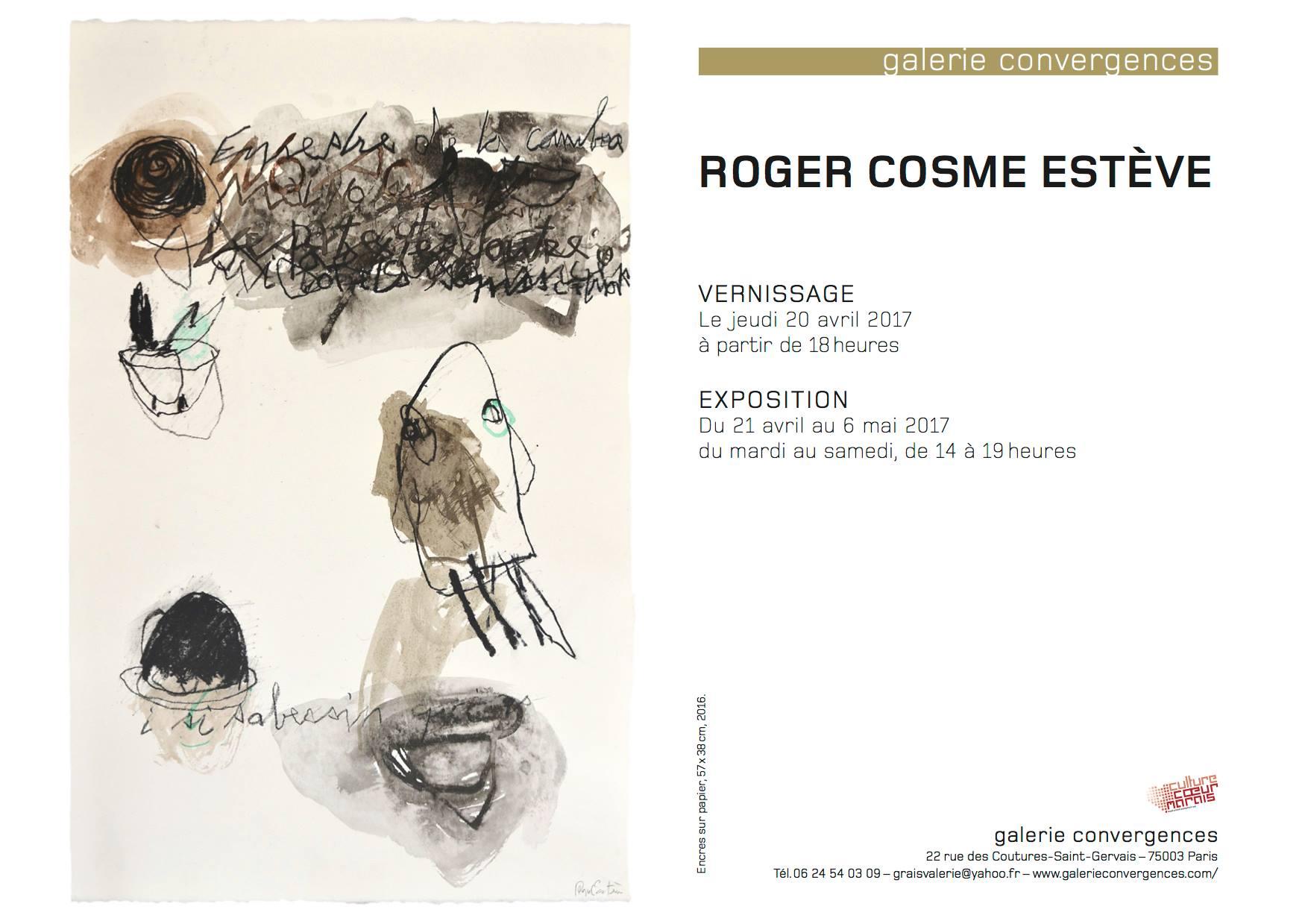 Invitation vernissage de l'exposition de Roger Cosme Estève Galerie Convergences Avril 2017