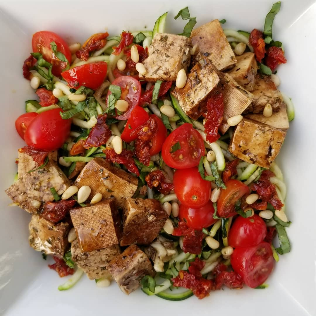 Tofu, Zucchini, Tomato Salad - all foods that don't effect blood sugar.  It's important to include foods that are filling yet don't effect blood sugar.  You'll want to eat this salad.  Promise.