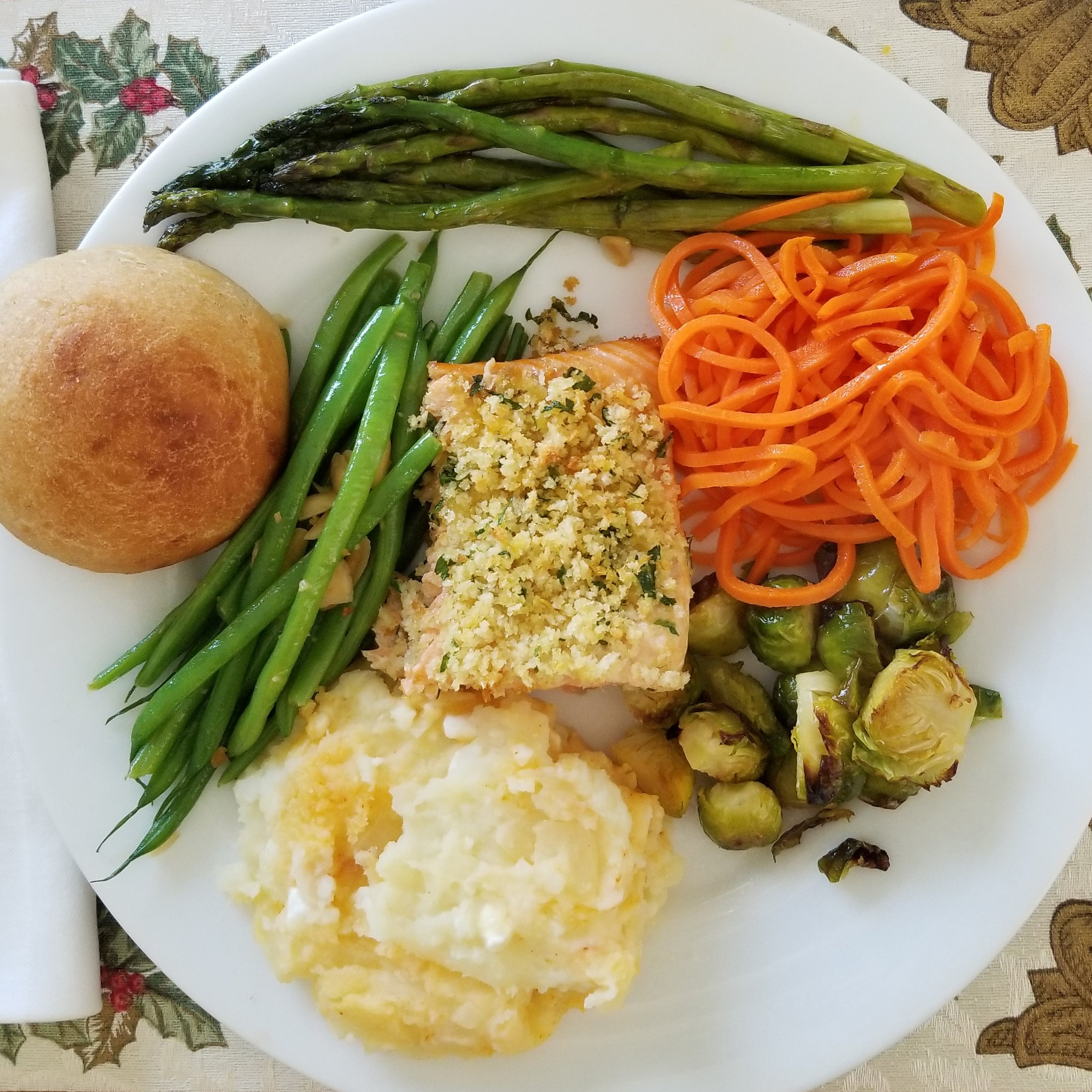 Salmon, Roasted Asparagus, Carrots, Green Beans, Cottage Potatoes, Brussels, & Homemade Bread - maybe not typical with all those non-starchy veggies, but definitely healthy and balanced.