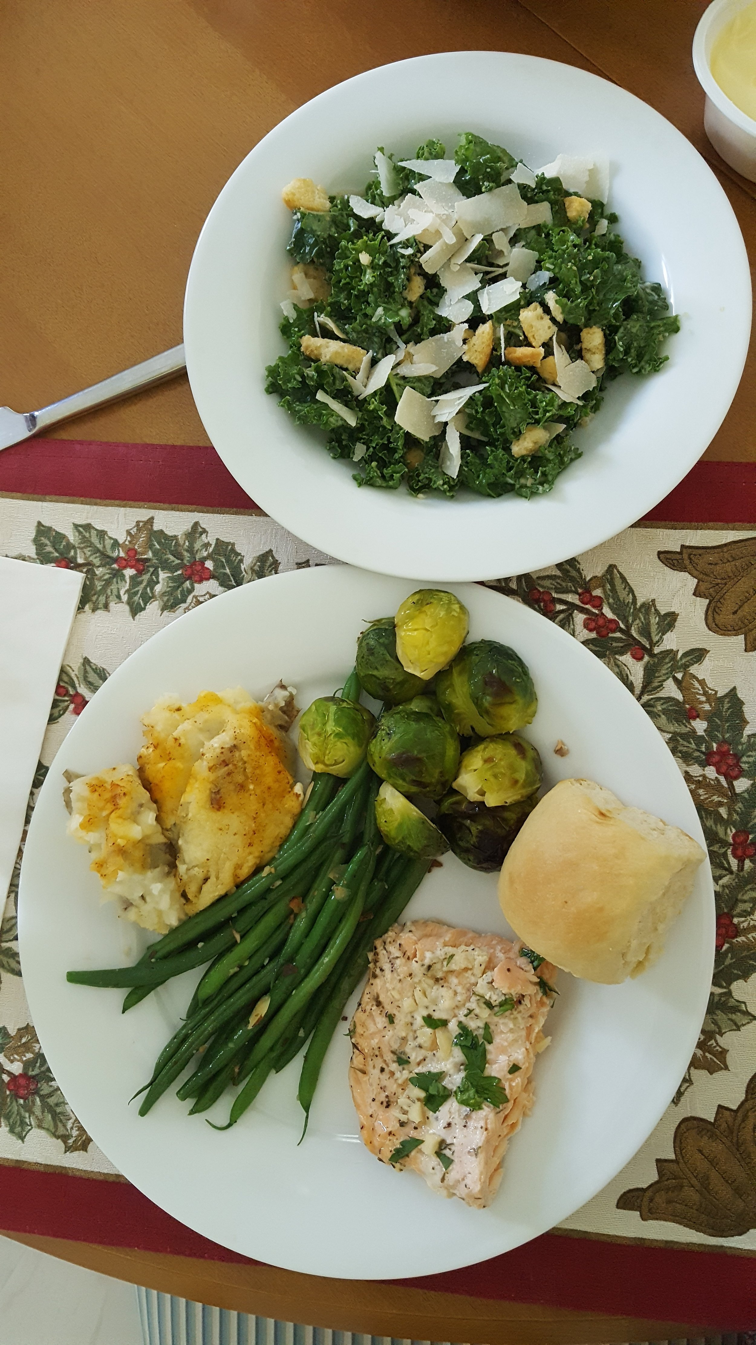 All the non-starchy veggies: kale, green beans, Brussels. And that made way for room for the carbs: roll, potato, and dessert (not pictured).