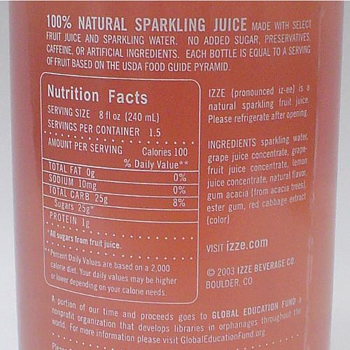 September At A Glance - Izze Grapefruit Nutrition label.jpg