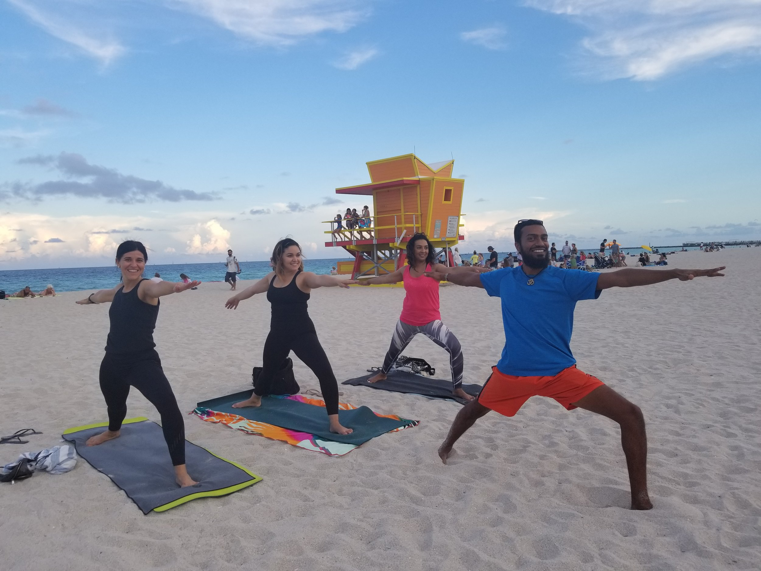 Yoga on South Beach - by donation, every day at 7 am and 5 pm (switches when the time changes)