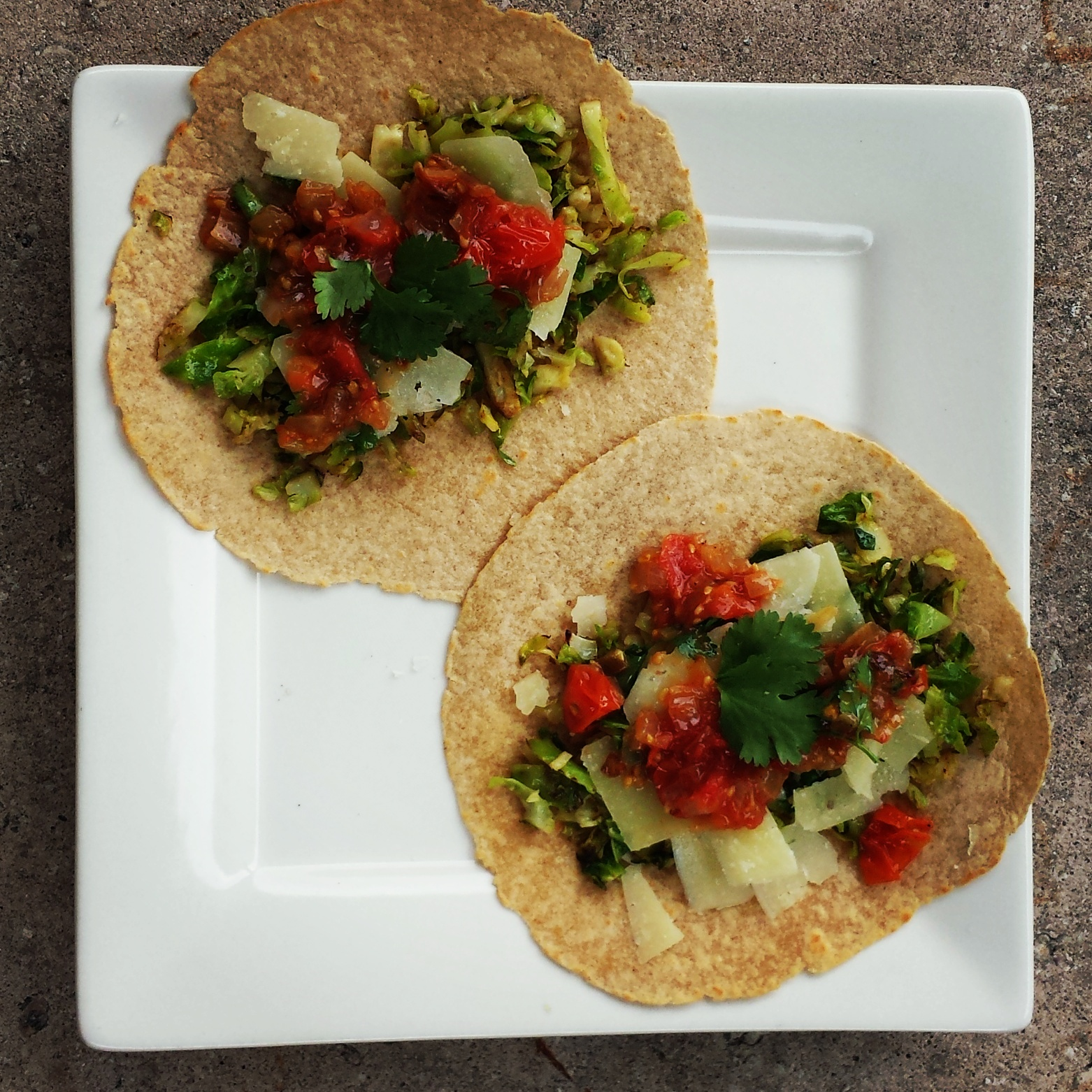 Brussels Sprout Tacos with Caramelized Shallot Salsa