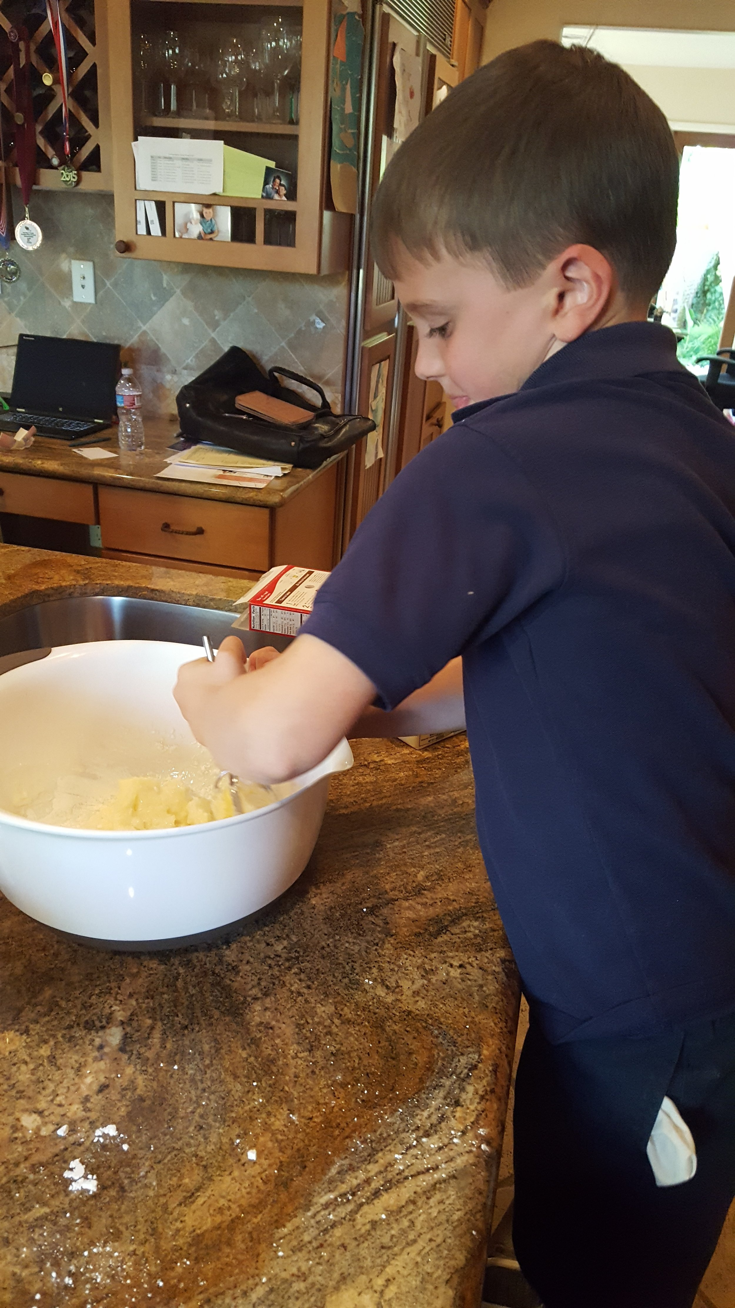 Yes, he's making a dessert here (just look at that butter) but the key is getting them involved in the preparation.