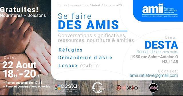 Nous vous invitons à une réunion chaleureuse et intime le jeudi 22 août de 18 h à 21 h au «DESTA Black Youth Network», dans la Petite-Bourgogne. Cette réunion est axée sur l'intégration sociale Montréalaise à travers la création de liens d'amitié entre locaux établis et réfugiés. Un souper gratuit sera inclus avec un moment de détente sur le patio, si le soleil se joint à nous aussi.  #montreal #refugees #refugeecentre #refuge #refugies #welcomerefugees #welcomeall #asylumseekers #asylum #seekingrefuge #seekingasylum #bienvenue #qcpoli #refugeeswelcome #mtl #mtlmoments #mtllife #mtlpoli #quebec