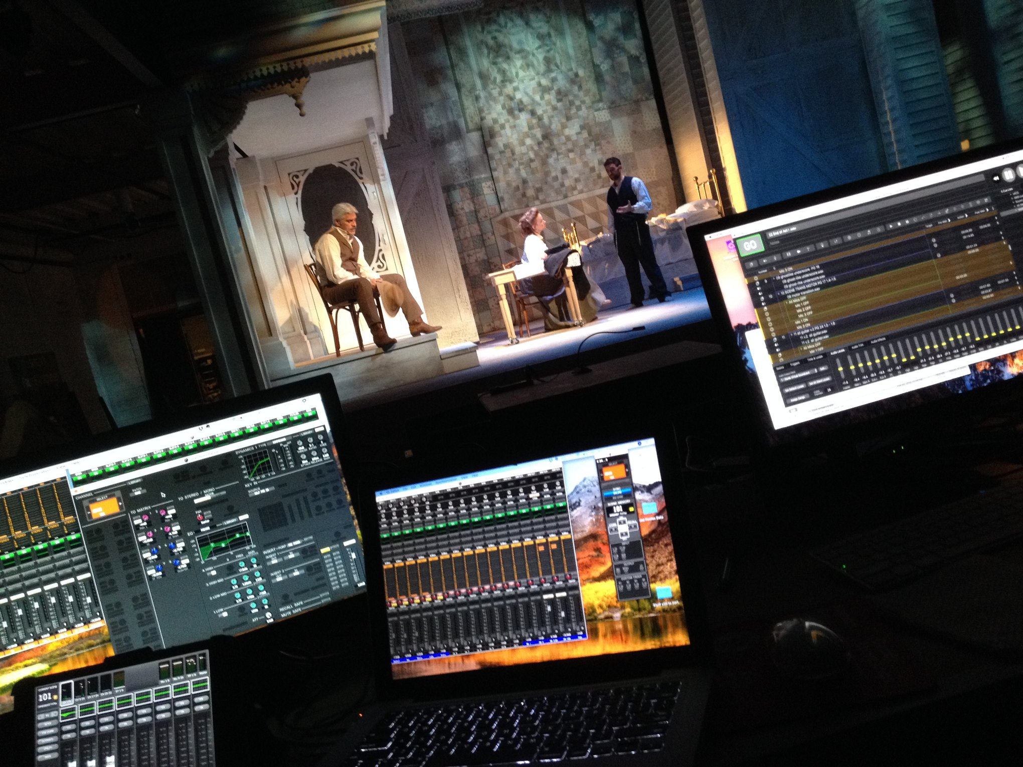 Designer's tech table, with sound system remote controls / EQs, RF mic control, and QLab, the software in which the sound design is programmed.
