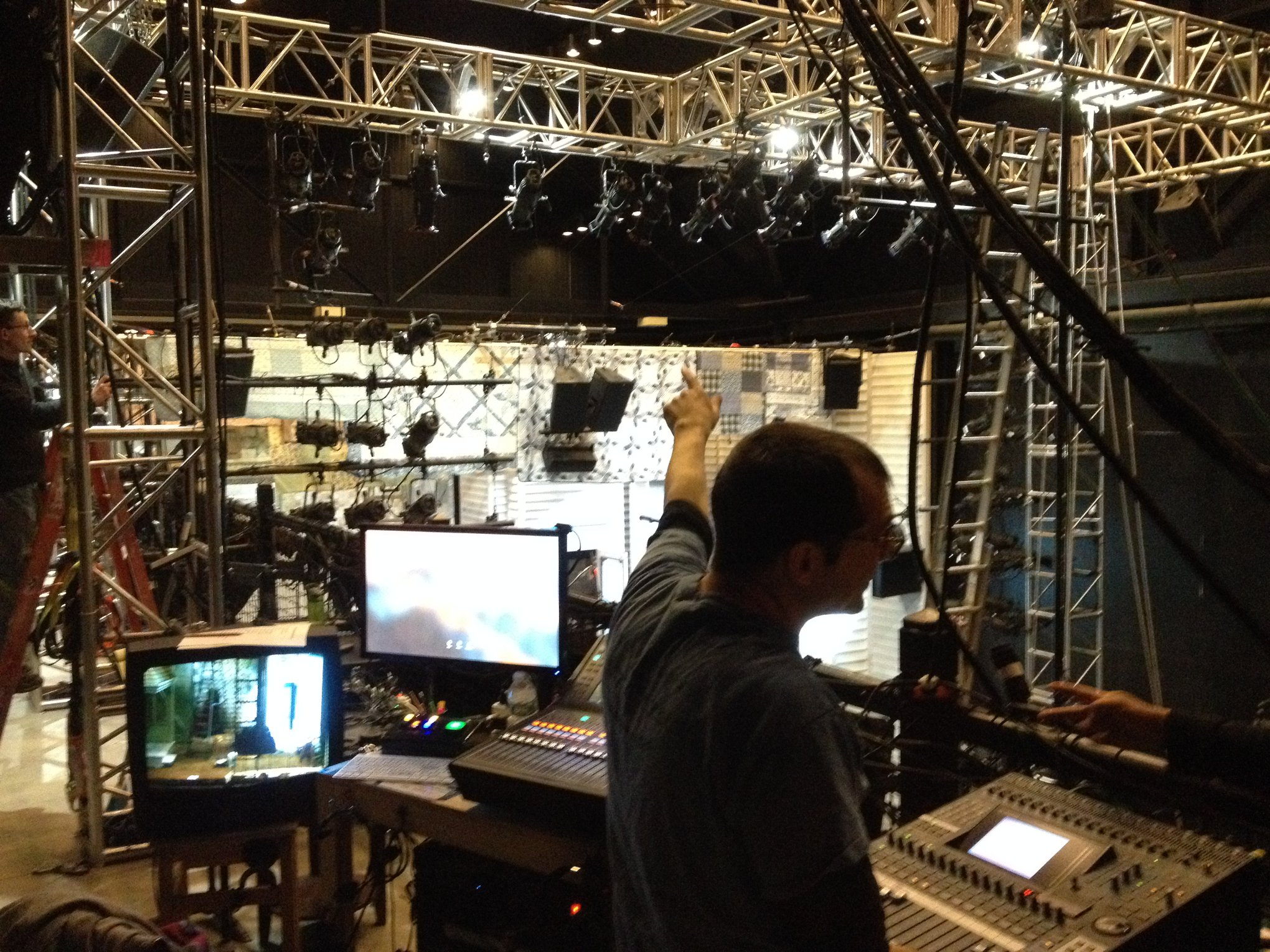 Sound control area, where QLab assignments are patched, and from where board op takes cues from stage manager.