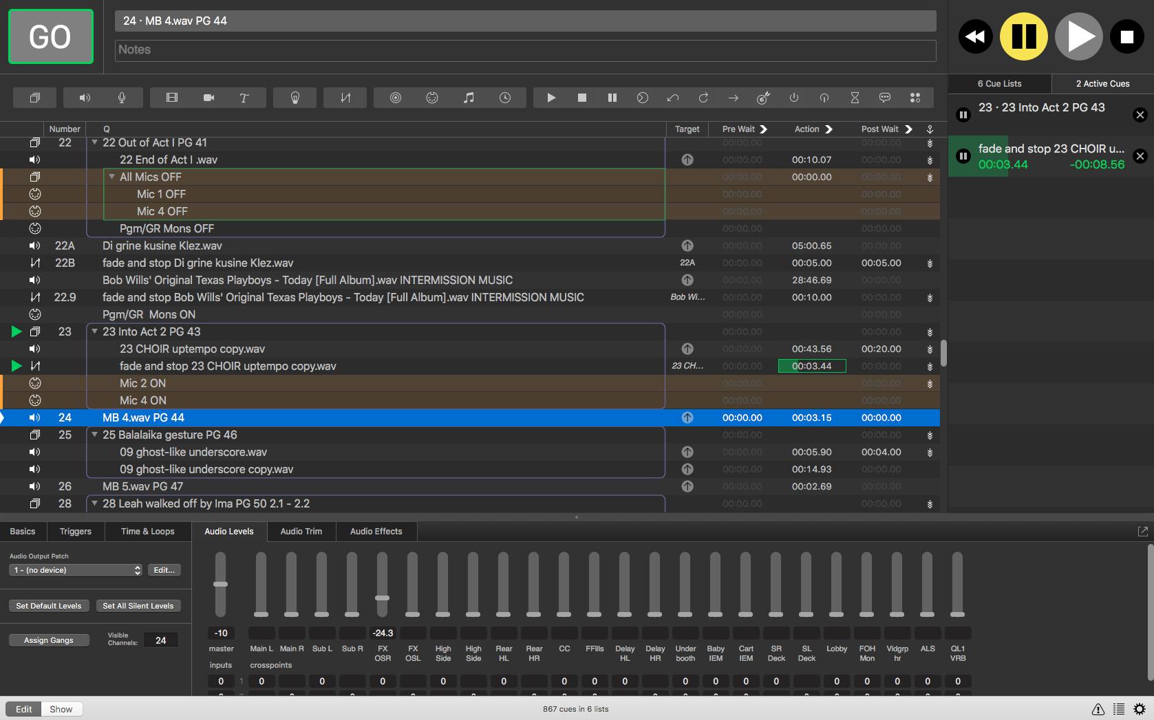 Detail, QLab programming