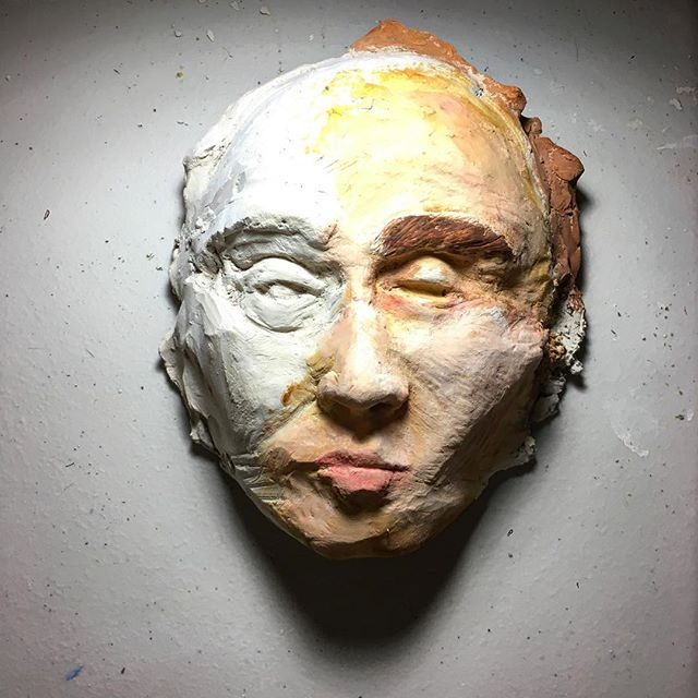 Paint on clay face #skulpture #oilpaints #toronto #arts