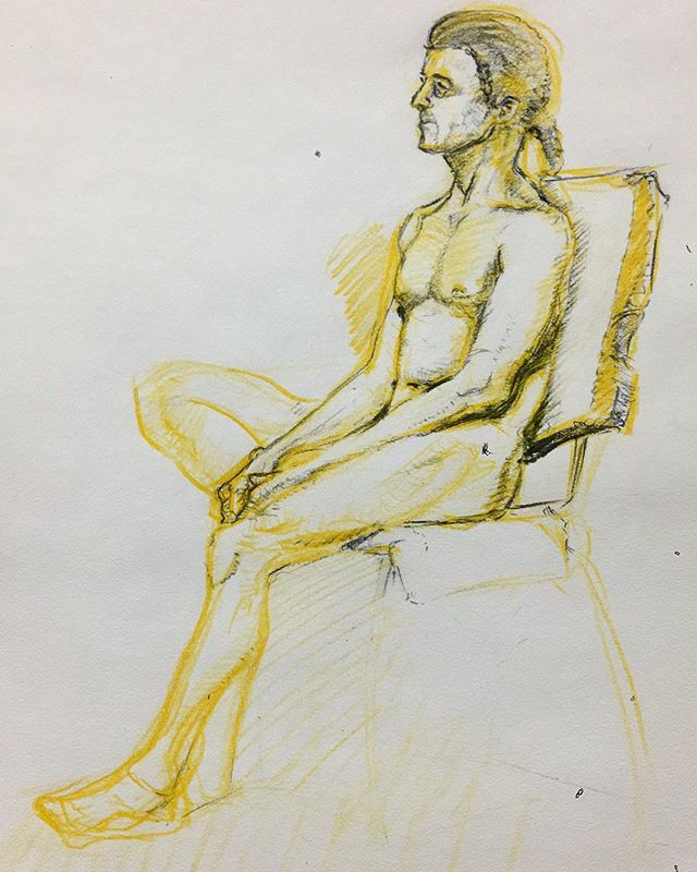 From last nights #lifedrawing I found a yellow #pencil and just went with it. Really like the results. Then my prof mentioned I should have used black paper so maybe next time. #sketching #artwork #toronto #gbc #nightclass