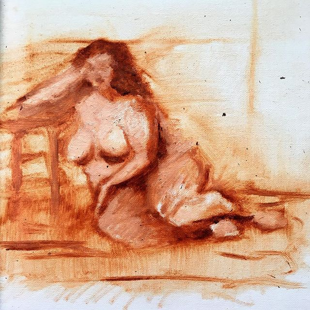 #figuary month continues with #oilpainting #lifedrawing for me with @croquiscafe  model @keiraleilani
