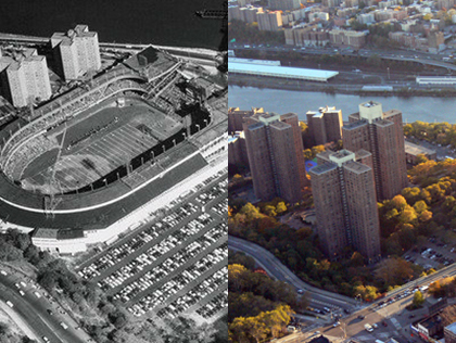Before and after showing the Polo Grounds stadium and the housing complex that replaced it.