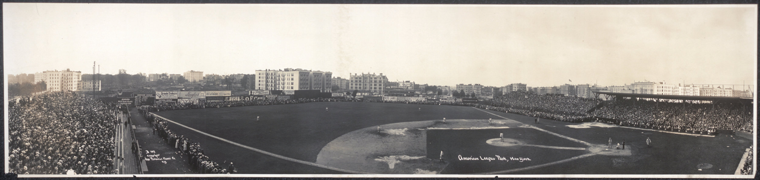 A panorama of Hilltop Park, circa 1910, showing the stadium and surrounding Washington Heights neighborhood.