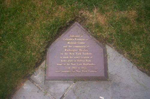 The plaque at NYPH marking the location of home plate at Hilltop Park.