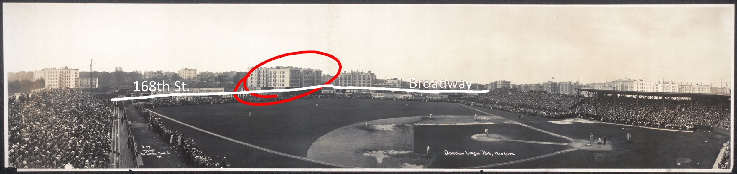 The panoramic picture of Hilltop Park showing the positions of Broadway and 168th Street, based on the position of 601-607 W 168th Street.