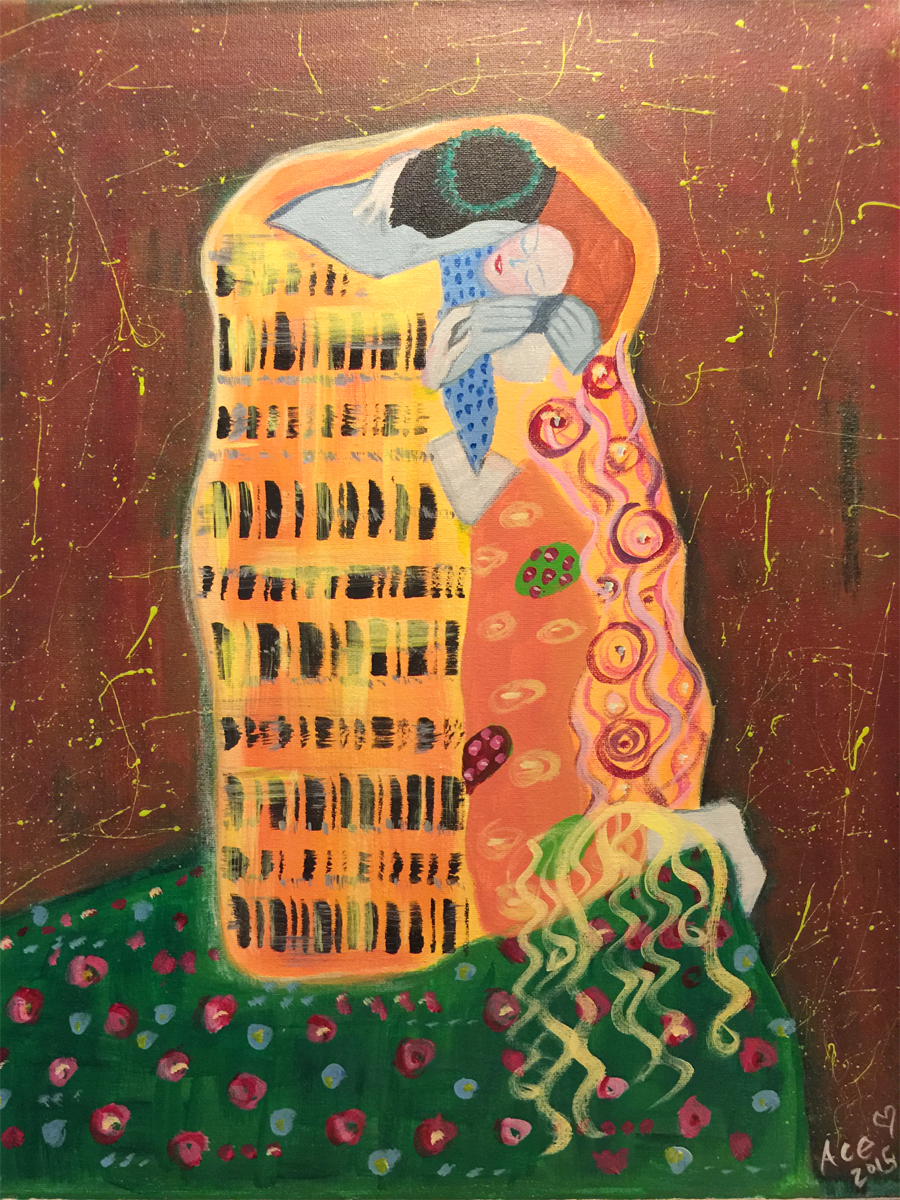 "Rachelle's rendition of Gustav Klimt's ""The Kiss"" - Acrylic on Canvas."