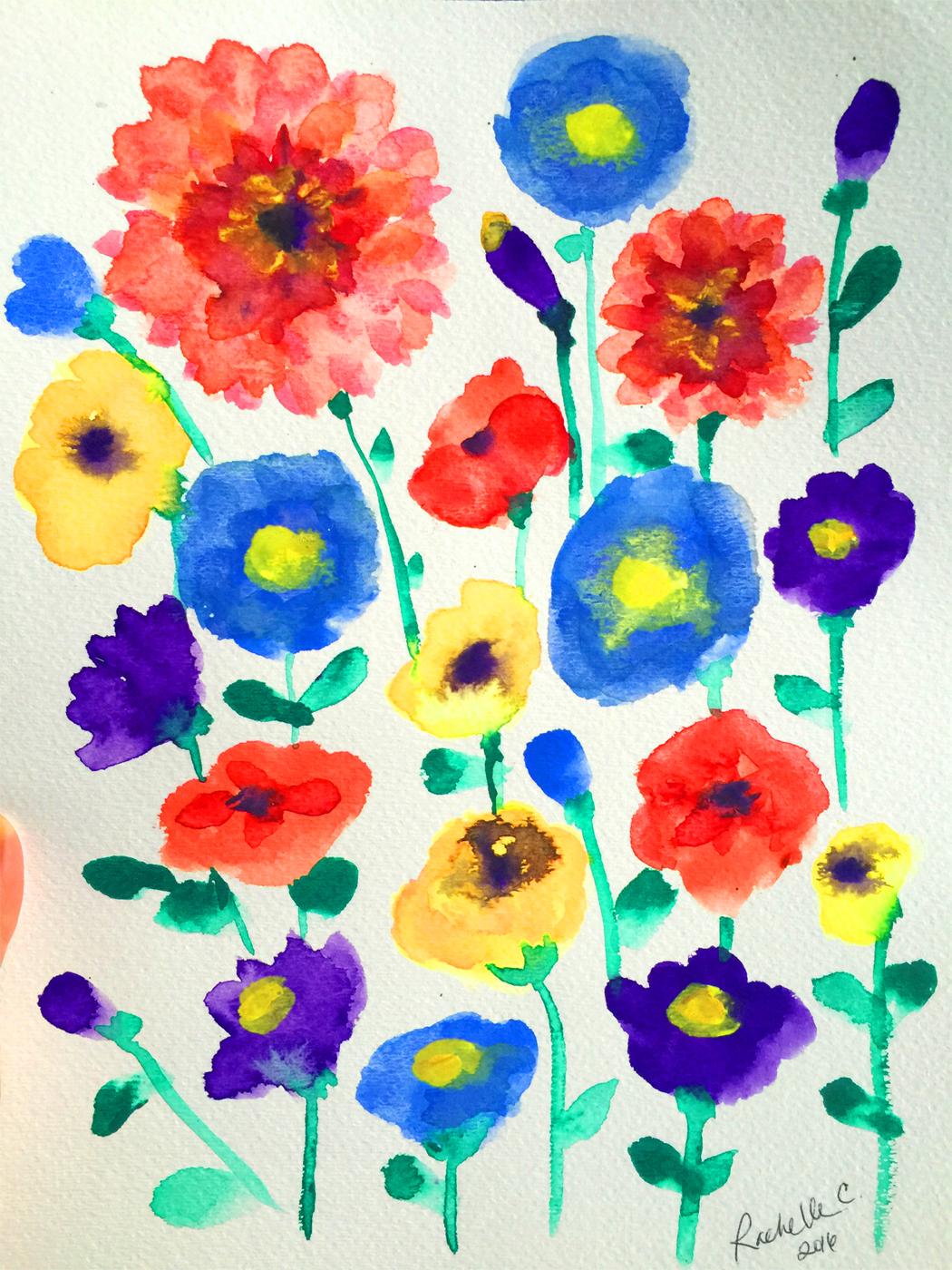 """Folk Flowers"" original watercolor. Copyright 2016 Rachelle Caliolio Design"