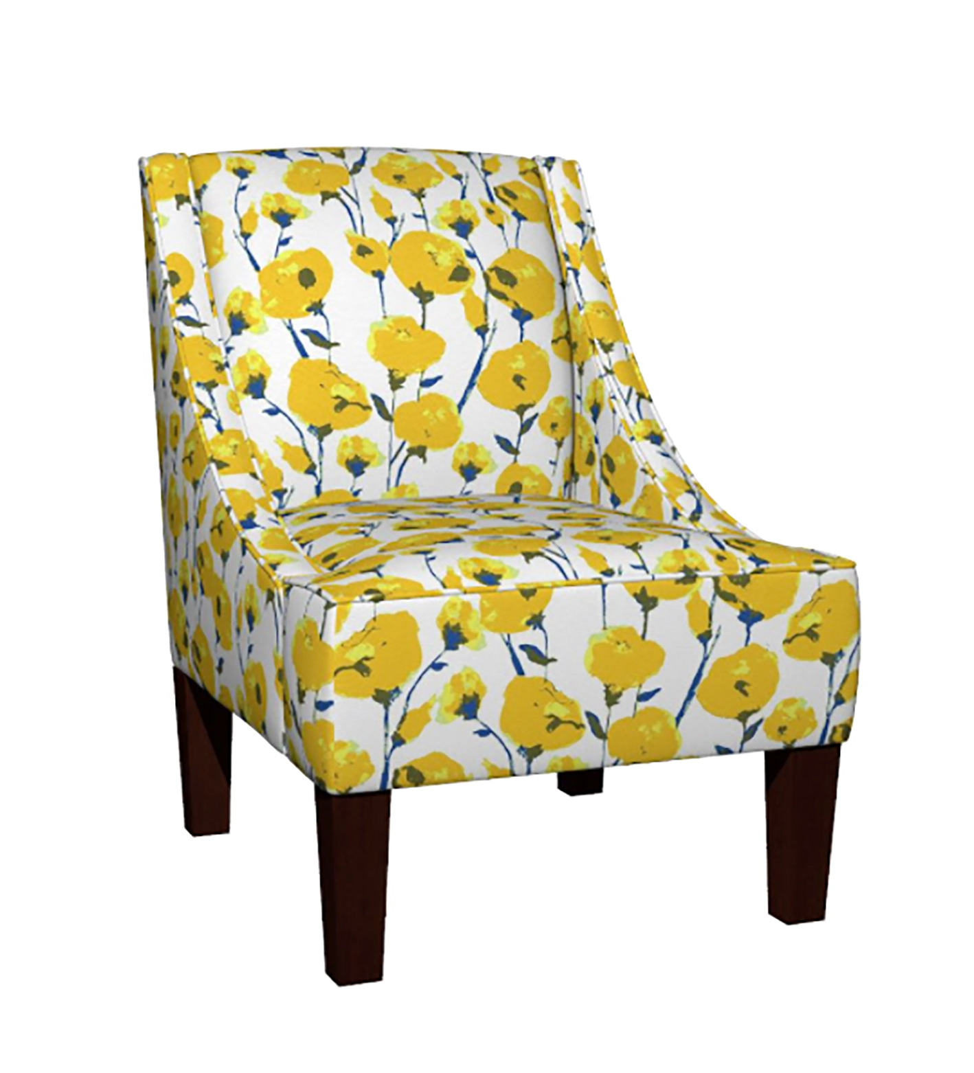 """Yellow Roses"" print on the Venda sloped arm chair.    https://roostery.com/e?user=rachelle_caliolio_design"