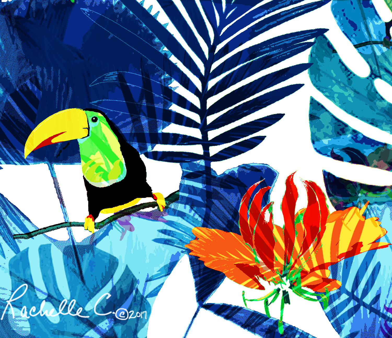 """Toucan Isle"" original print, Rachelle Caliolio Design  copyright 2019. All rights reserved."