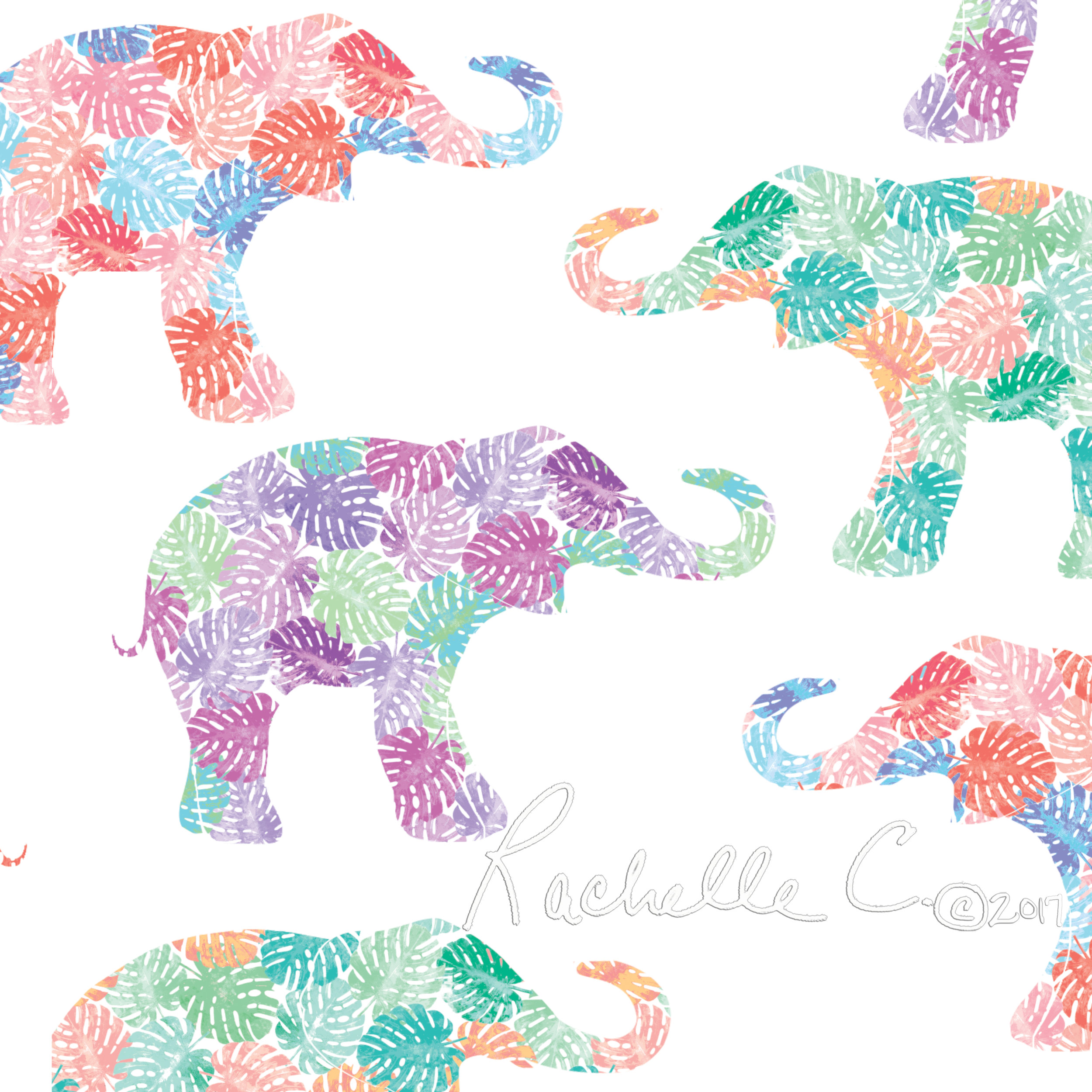 """Elephant Magic"" original print by Rachelle Caliolio Design  copyright 2019. All rights reserved."