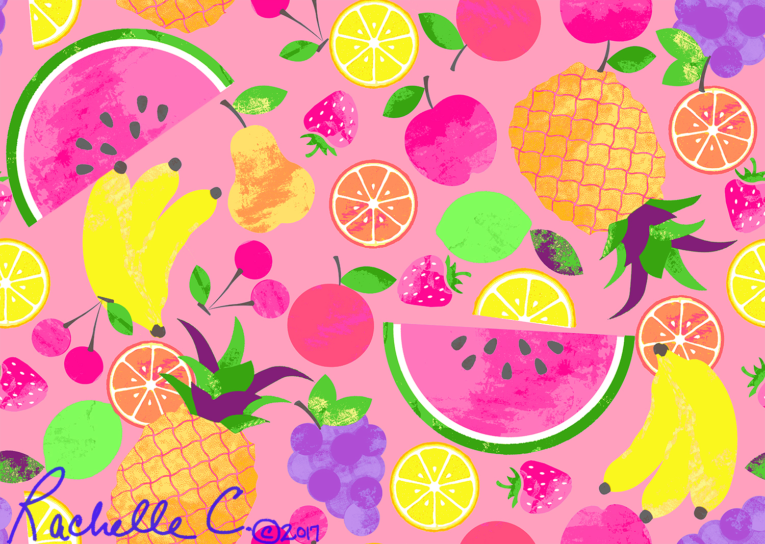 """Fruit Salad"" original print by Rachelle Caliolio Design  copyright 2018. All rights reserved"