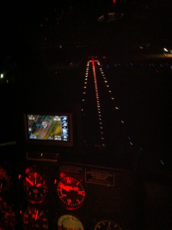 Anflug Siegerland bei Nacht