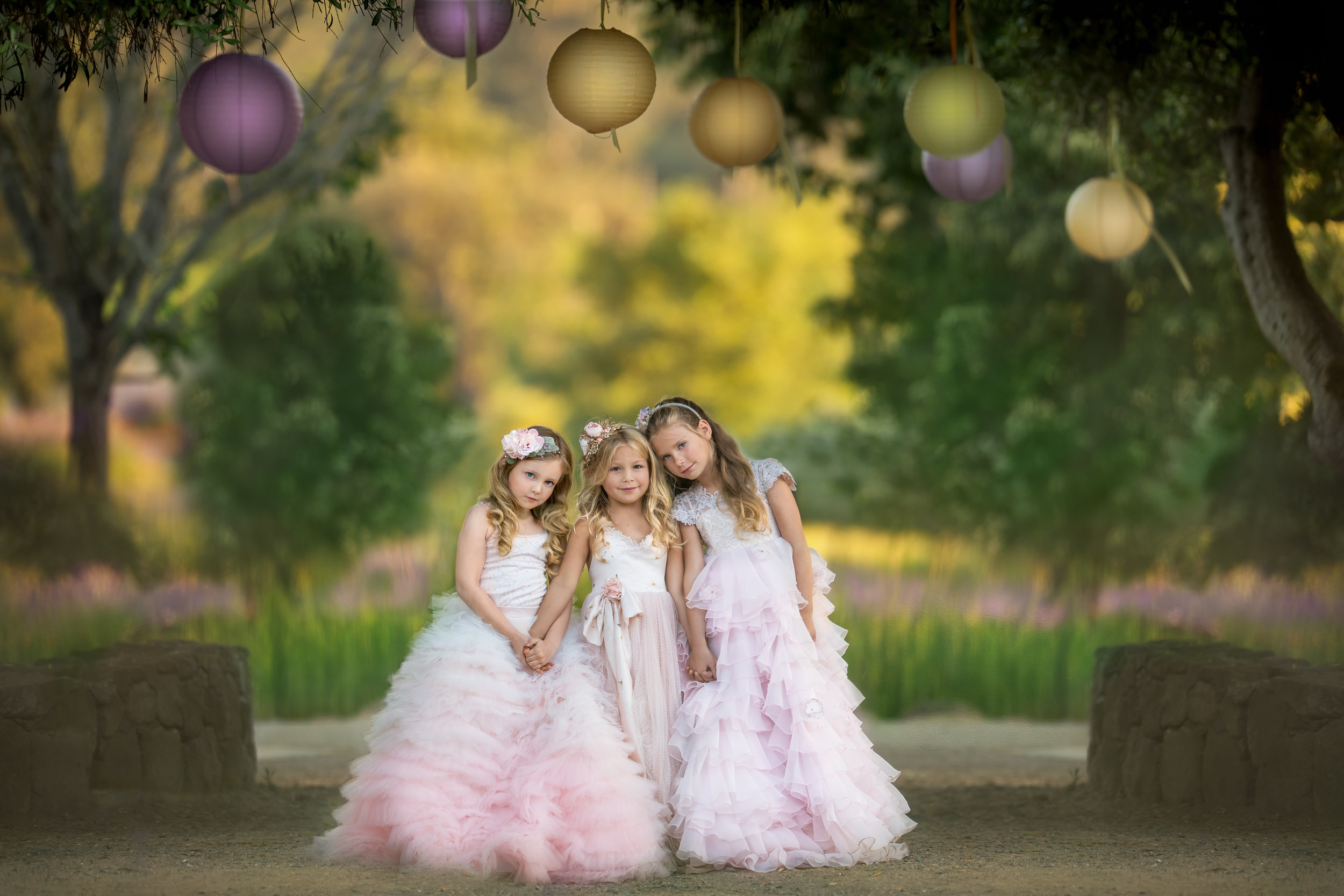 girls portrait in couture dresses