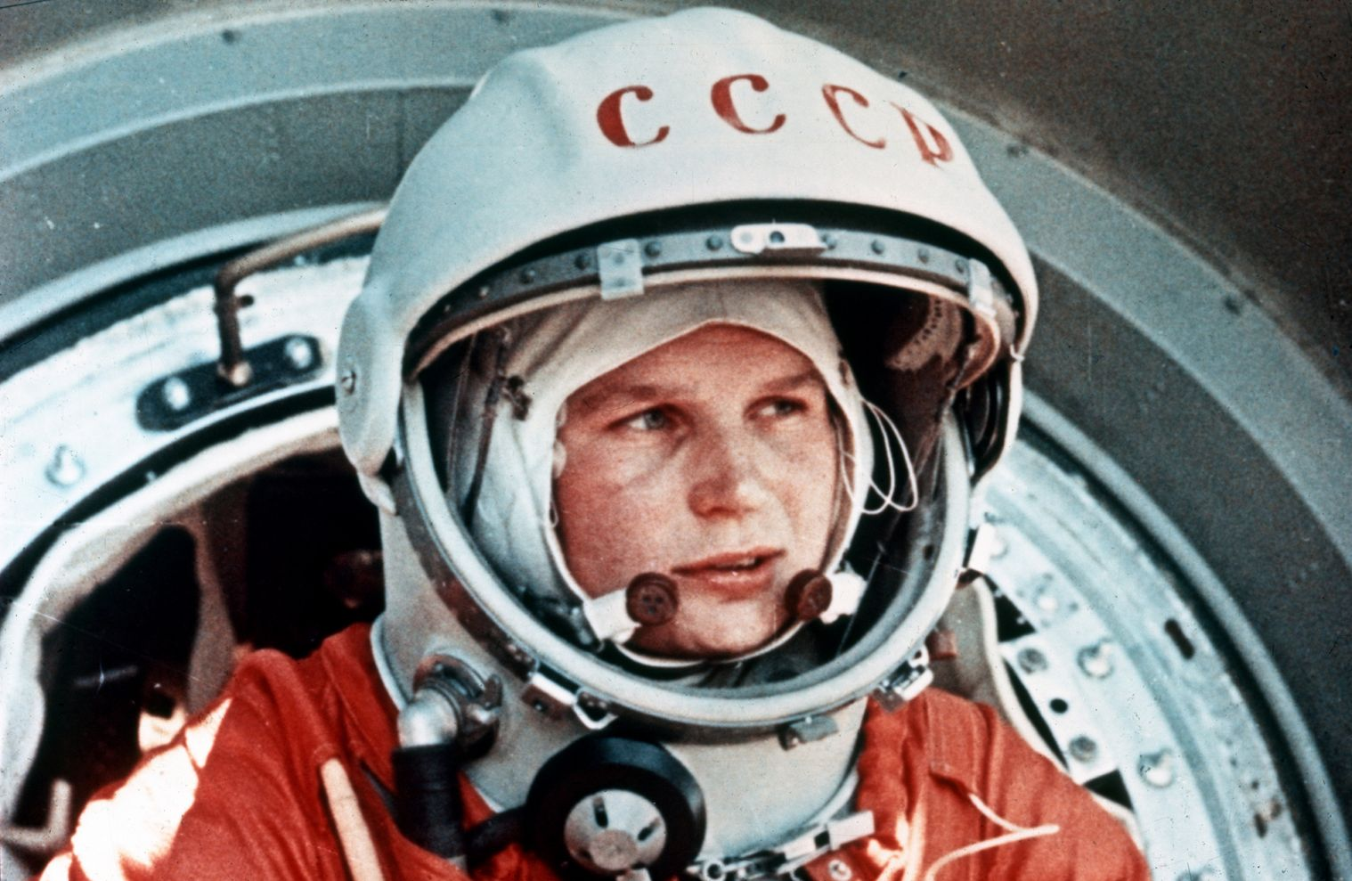 Soviet cosmonaut Valentina Tereshkova, the first woman in space, in front of the Vostok capsule, June 1963.