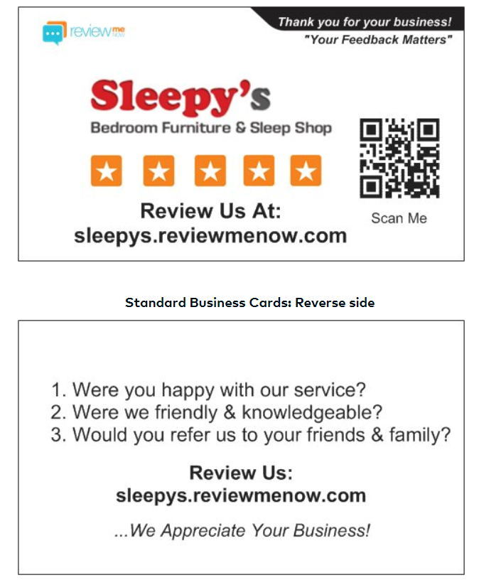Example Feedback Cards Branded To Your Business!