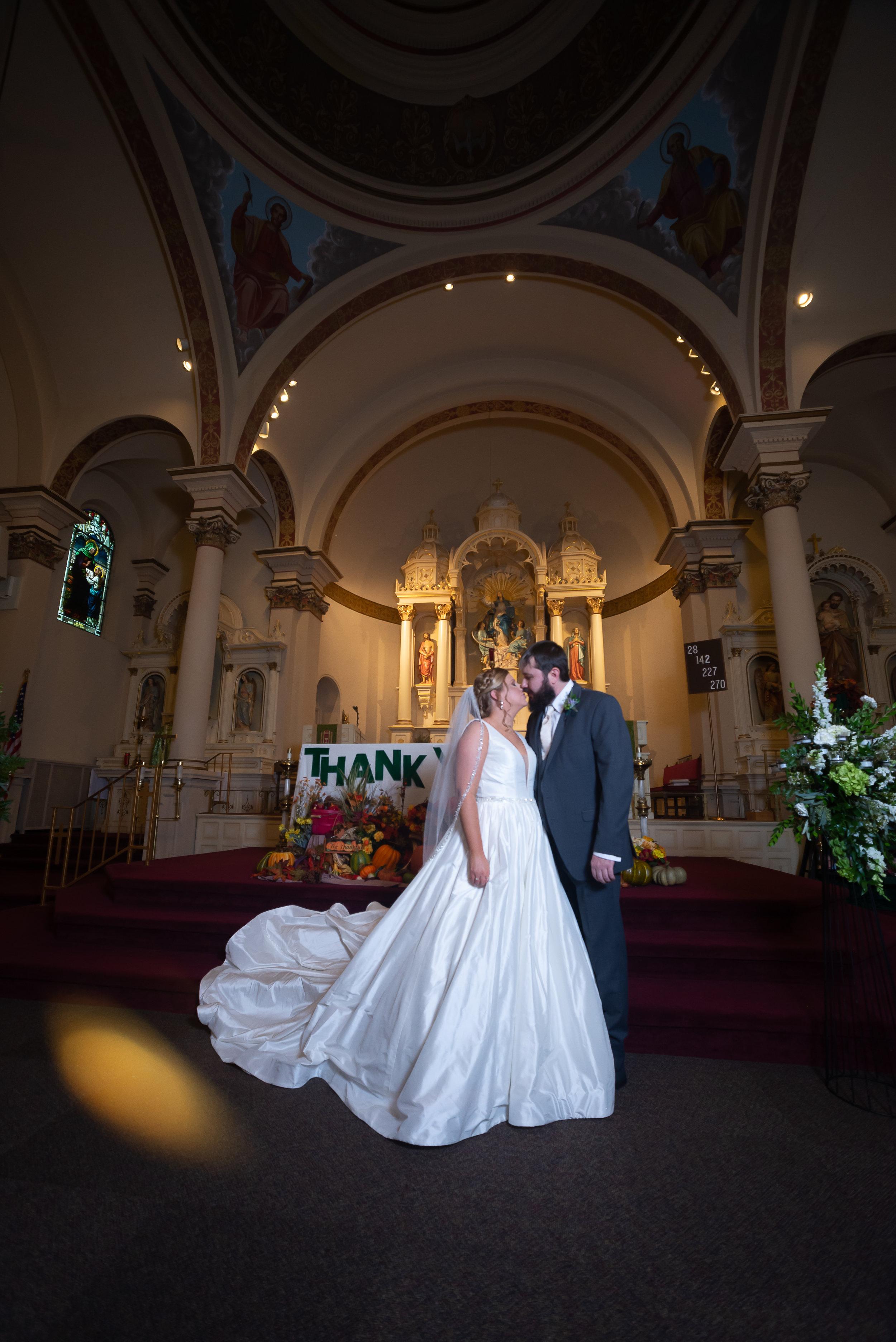 Tara and Eric Wheeler at St Mary's Catholic Church, West Point, Iowa