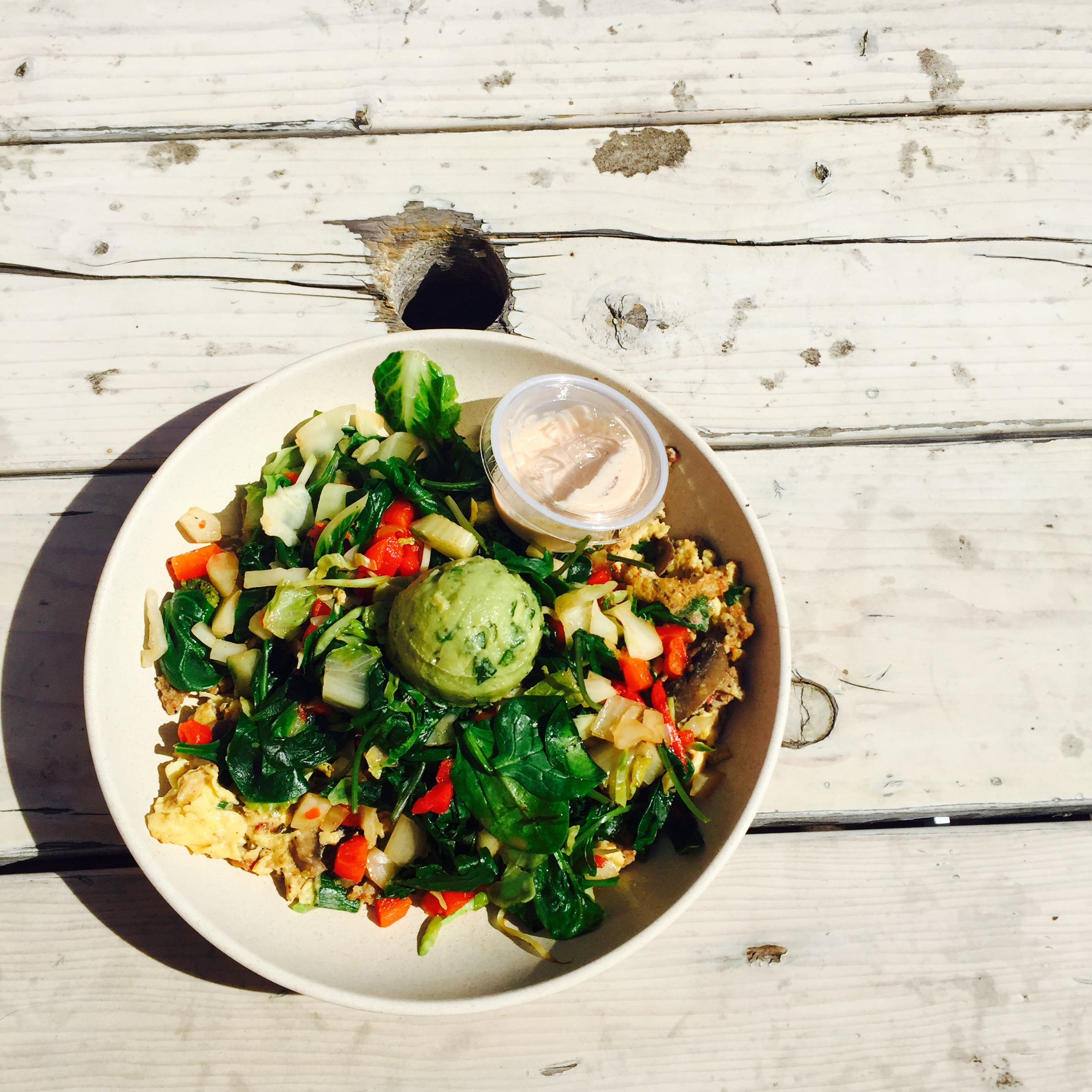 The Morning Bowl | Eggs + Spinach + Kale + Sausage + Onion + Fennel + Veggies + Guac + Spicy Chipotle Sauce