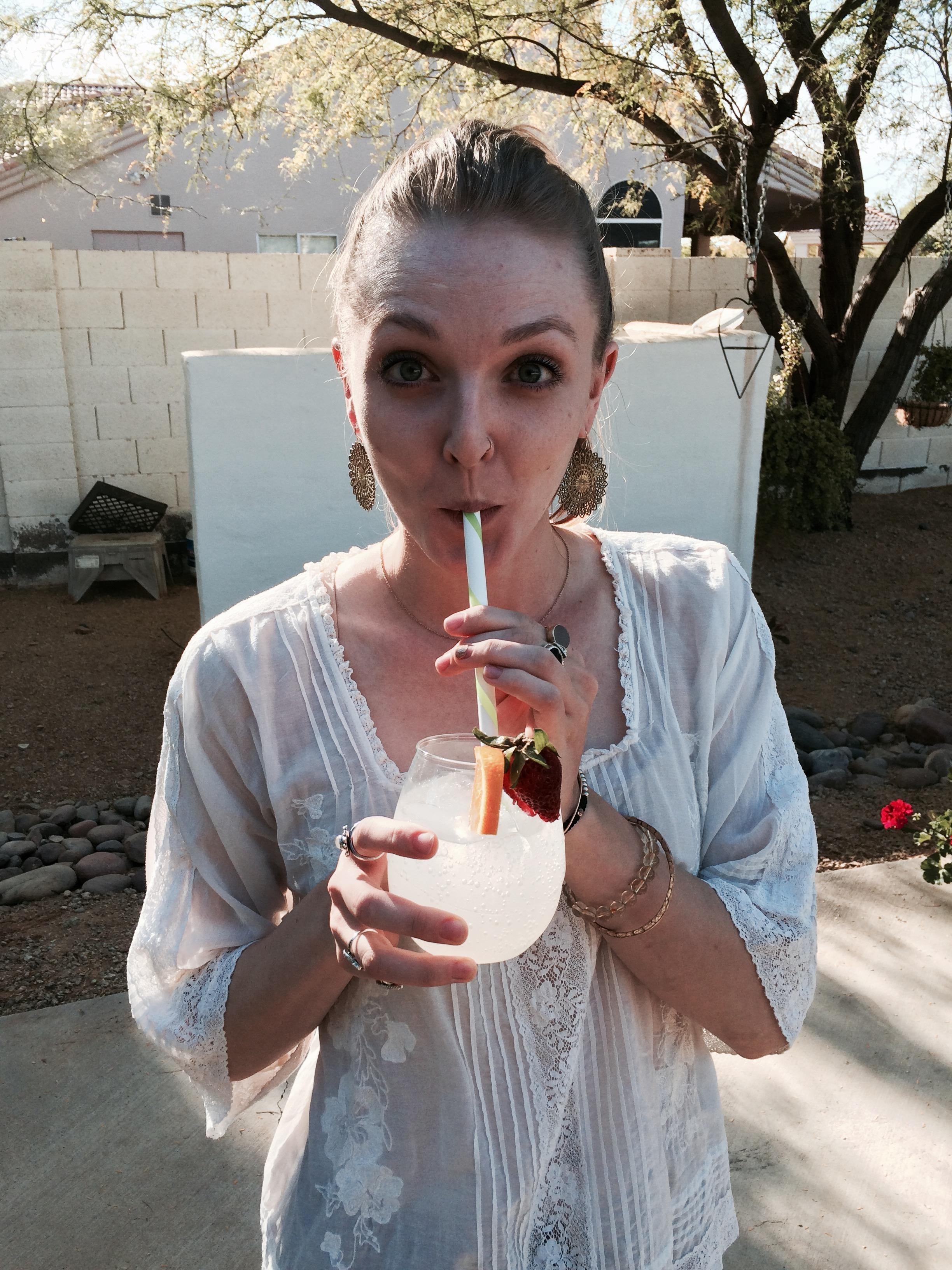 Mocktail | Sparkling water + Orange + Strawberry | #SundayFunday Vibes