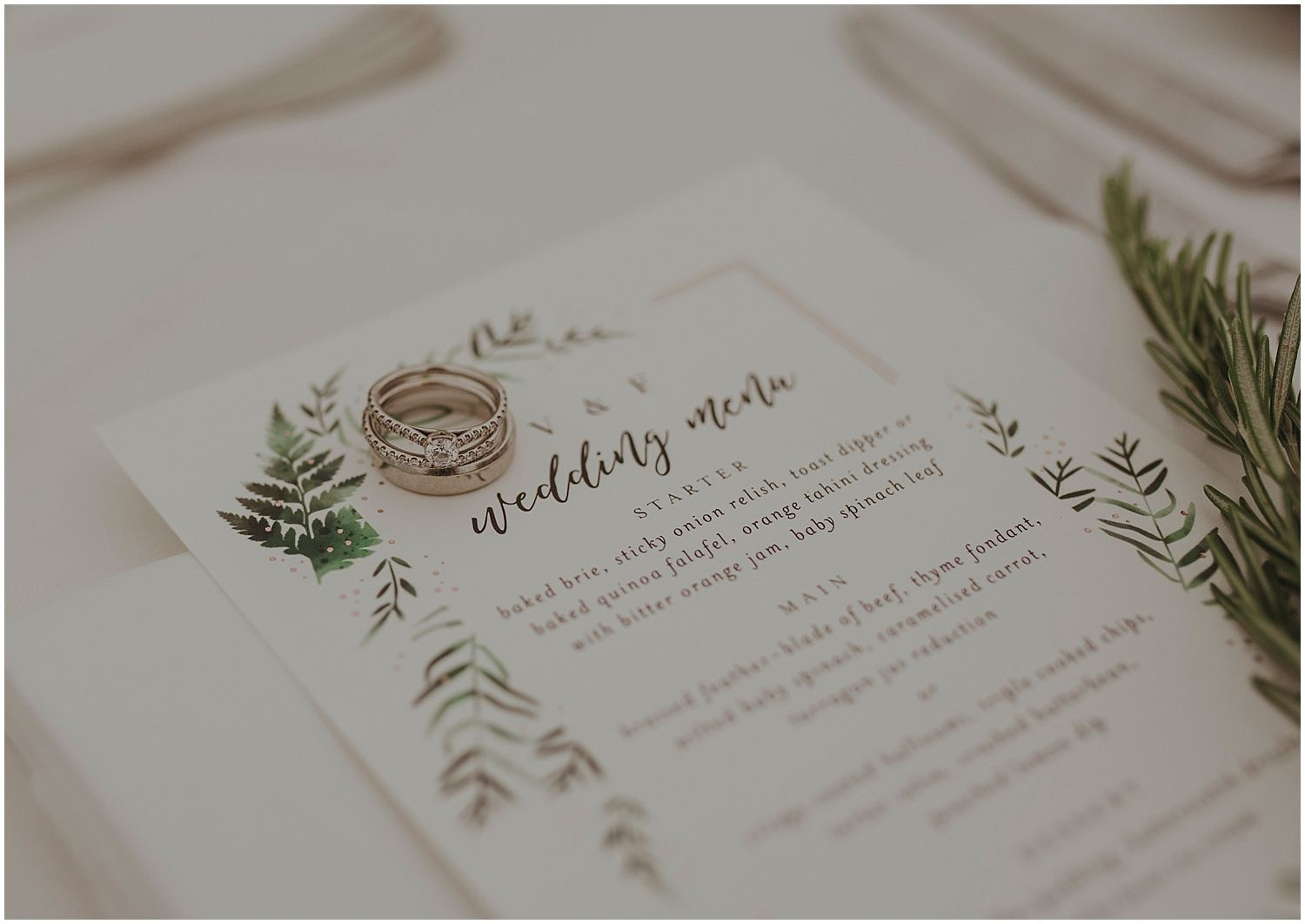 Vikki: We wanted to go with a simple, botanical theme and found Minted which is a really cool online stationary provider that supports independent local designers and artists all around the US. They have lots of unique, pretty designs and the whole process was really easy and everything was delivered right to our door!