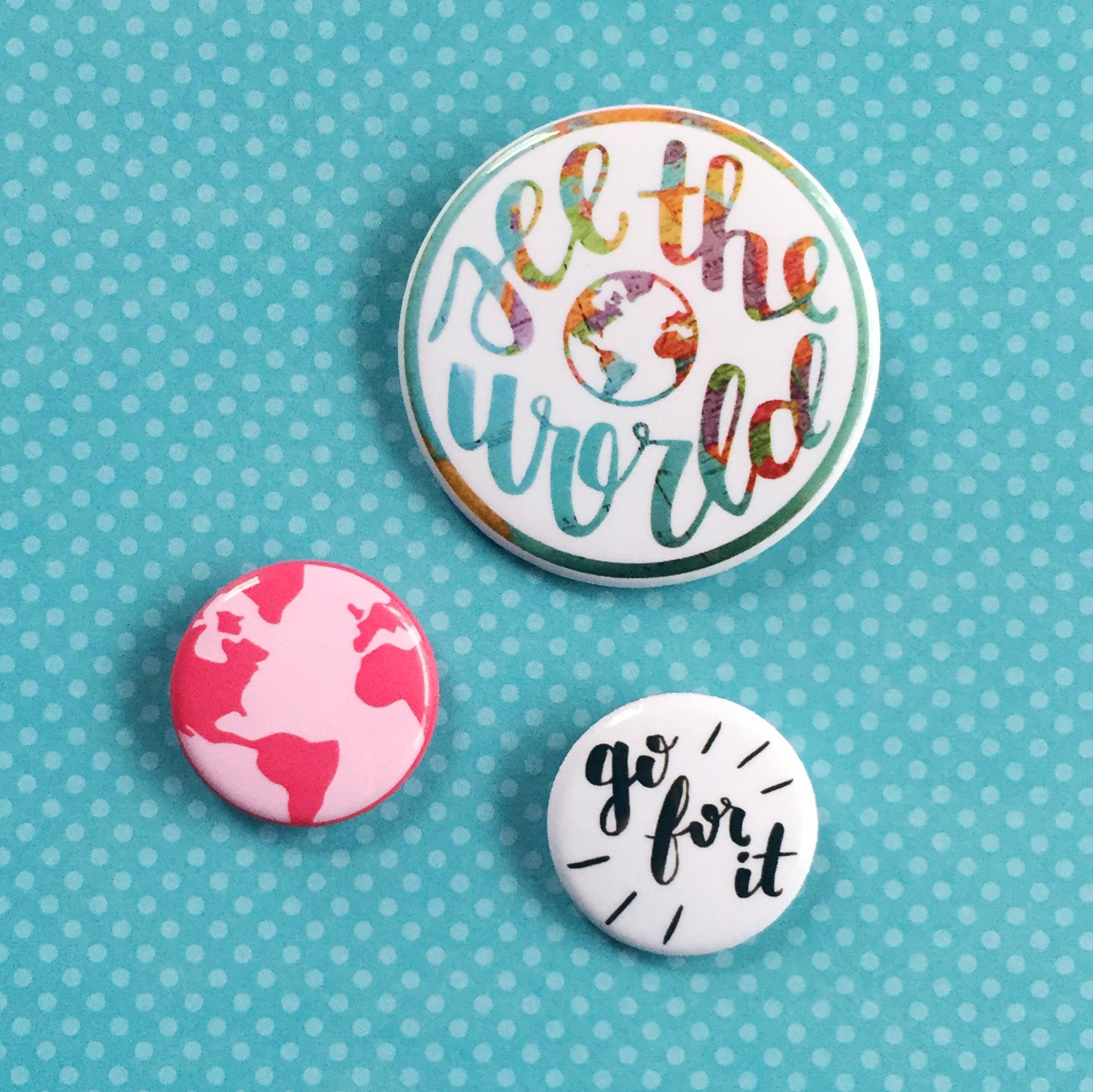 Travel buttons by Gladje Designs