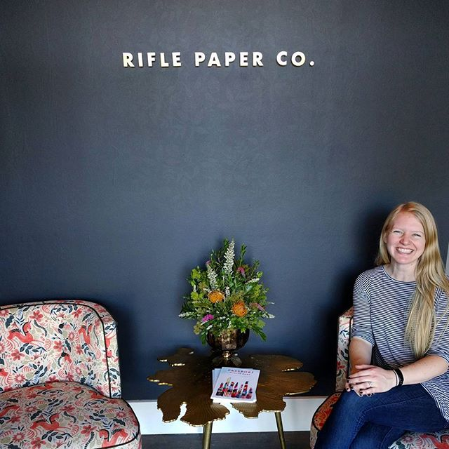 Today, two of my dreams have come true: 1. Visit the Rifle Paper Co. headquarters. 2. Move to EUROPE! ✈️🌍 My husband and I are taking some time to travel and work abroad. We could not be more excited! You can follow our adventures @europeorbutts 💖 I'm also looking forward to more time (and content!) for Glädje Designs this year ✒️✨ #RiflePaperCo #EuropeOrButts #SeeTheWorld