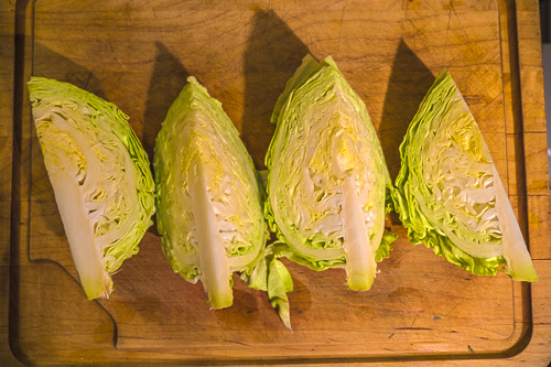 Quartered cabbage ready for de-coring