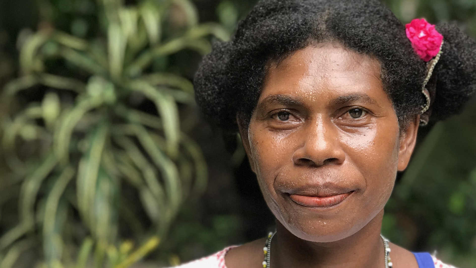 Janet is from Tuwo out on the Reef Islands of Temotu province. Salty water from rising sea levels are killing her fruit trees and longer droughts make growing food even more challenging.