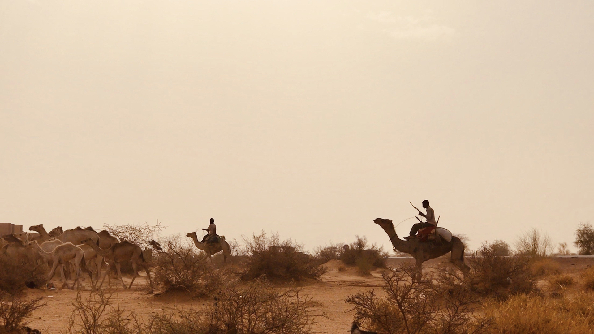 A man drives his camel caravan out into the desert, past the last security checkpoint in Gao. Beyond the perimeter of security forces, bandits and armed groups continue violent attacks, driving fear and ongoing instability. But life continues for traders and herdsmen who have travelled these routes for centuries. For children beyond the security of Gao, school is rare and violence is common.