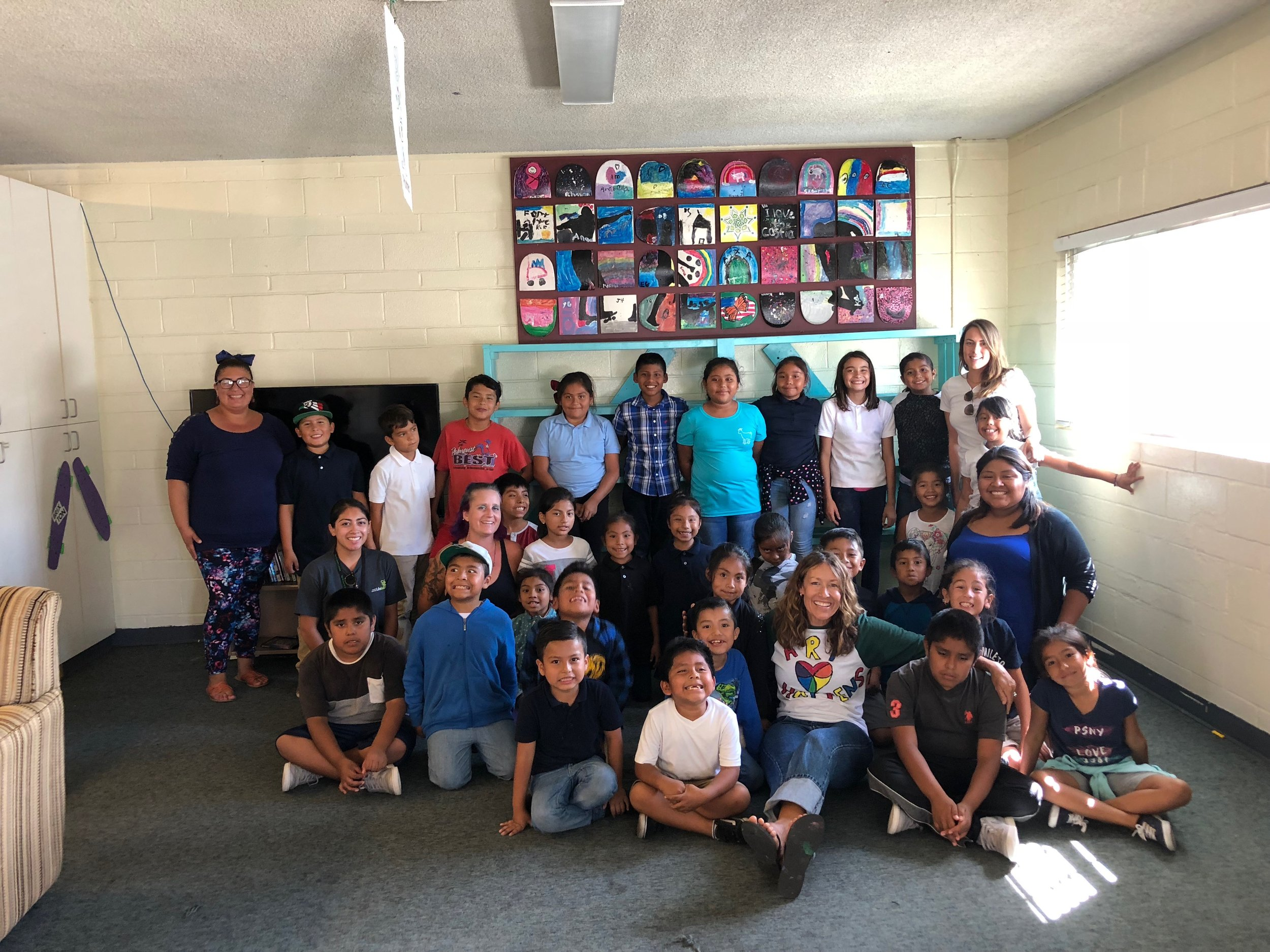 Art Collaboration w/Oceanside Lifeline - September 2018Rebecca Bauer came to La Casita and gave an art lesson to our kids. Together they created this mural made from broken skateboards. They also made an art piece to be raffled off at our Art & Music fundraiser in November.