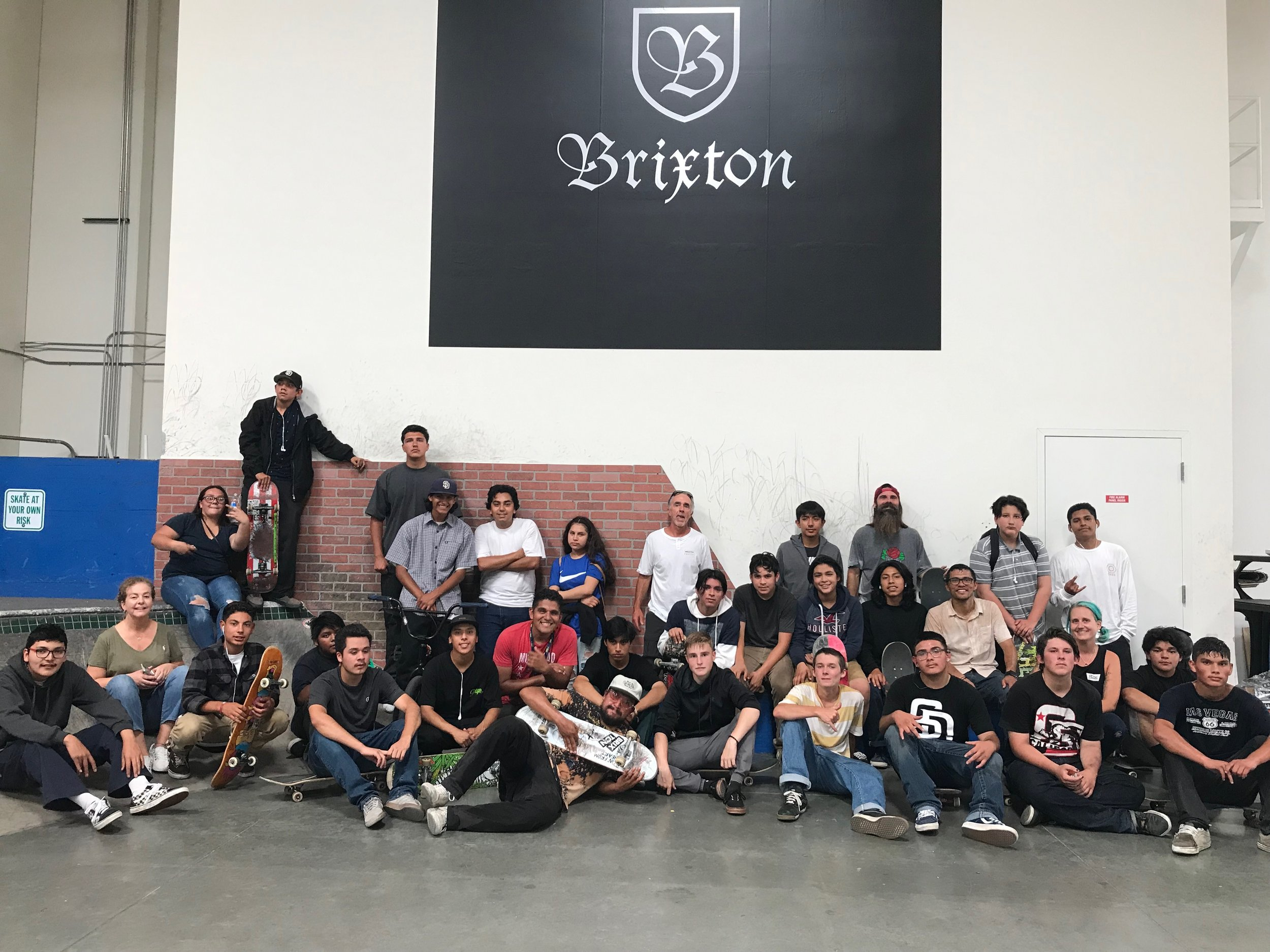 Brixton Career Day - July 2019We took kids from two of our programs in Vista to Brixton for a career talk and tour of their facilities. They got to skate their private park as well. We are thankful to Brixton for all they do for our organization.