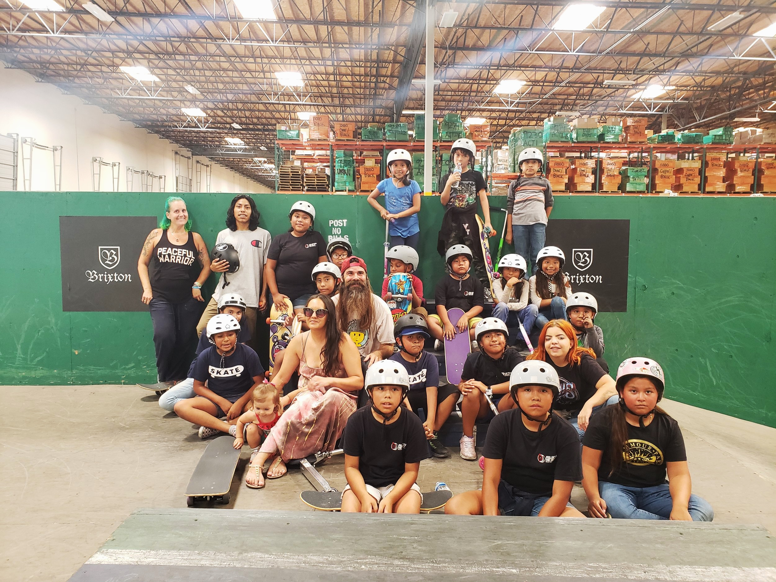 Brixton Career Day - August 2019We took kids from Oceanside Lifeline to Brixton for a talk and tour of their facilities. They also got to skate their private park and have a pizza party. We are so thankful to Brixton for all they do for our kids.