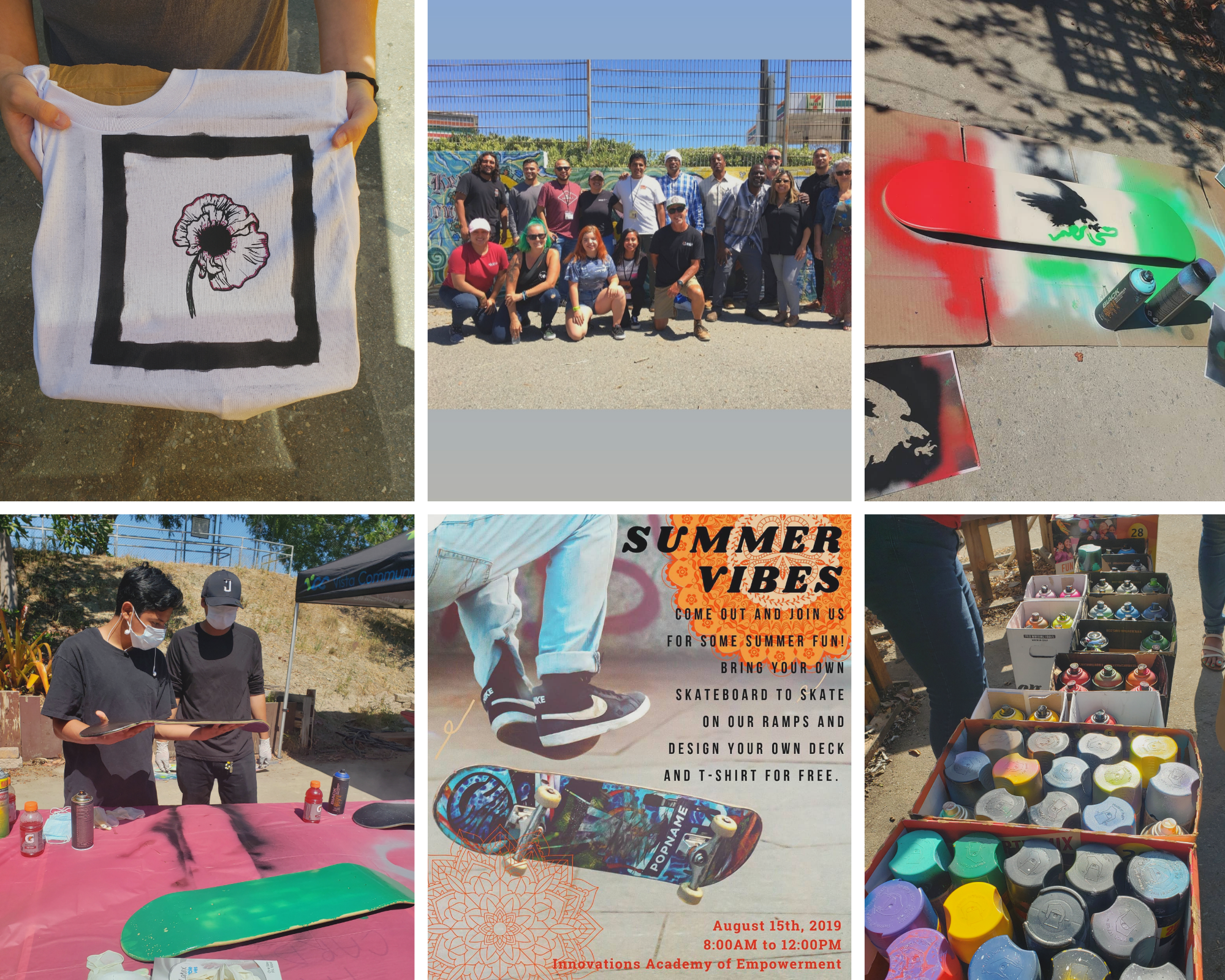 Summer Vibes - August 2019Community event with many community partners, including Vista Community Clinic. Kids designed their own skateboard deck and learned printing press basics with a T-shirt design studio. Love seeing art and skateboarding celebrated together!