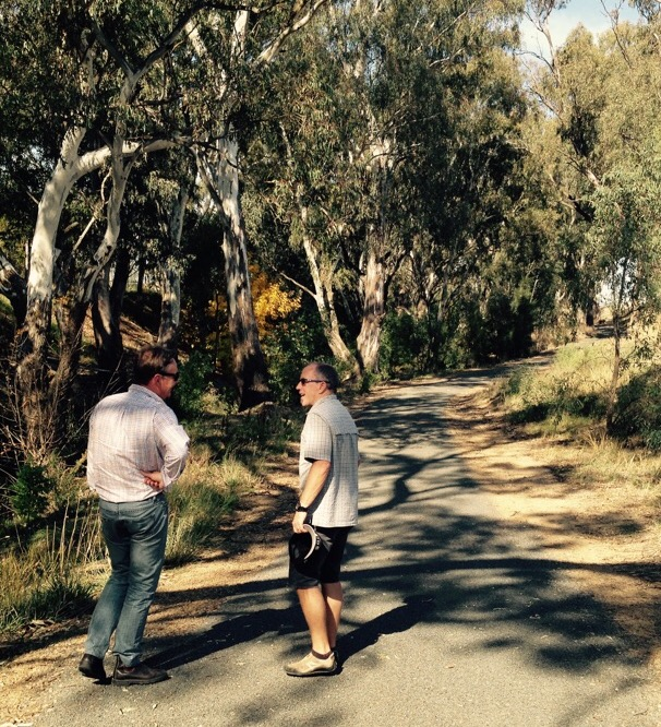 Consultant John Hepper with WRT Committee member Paul Johanson inspecting a section of trail along Marshalls Creek