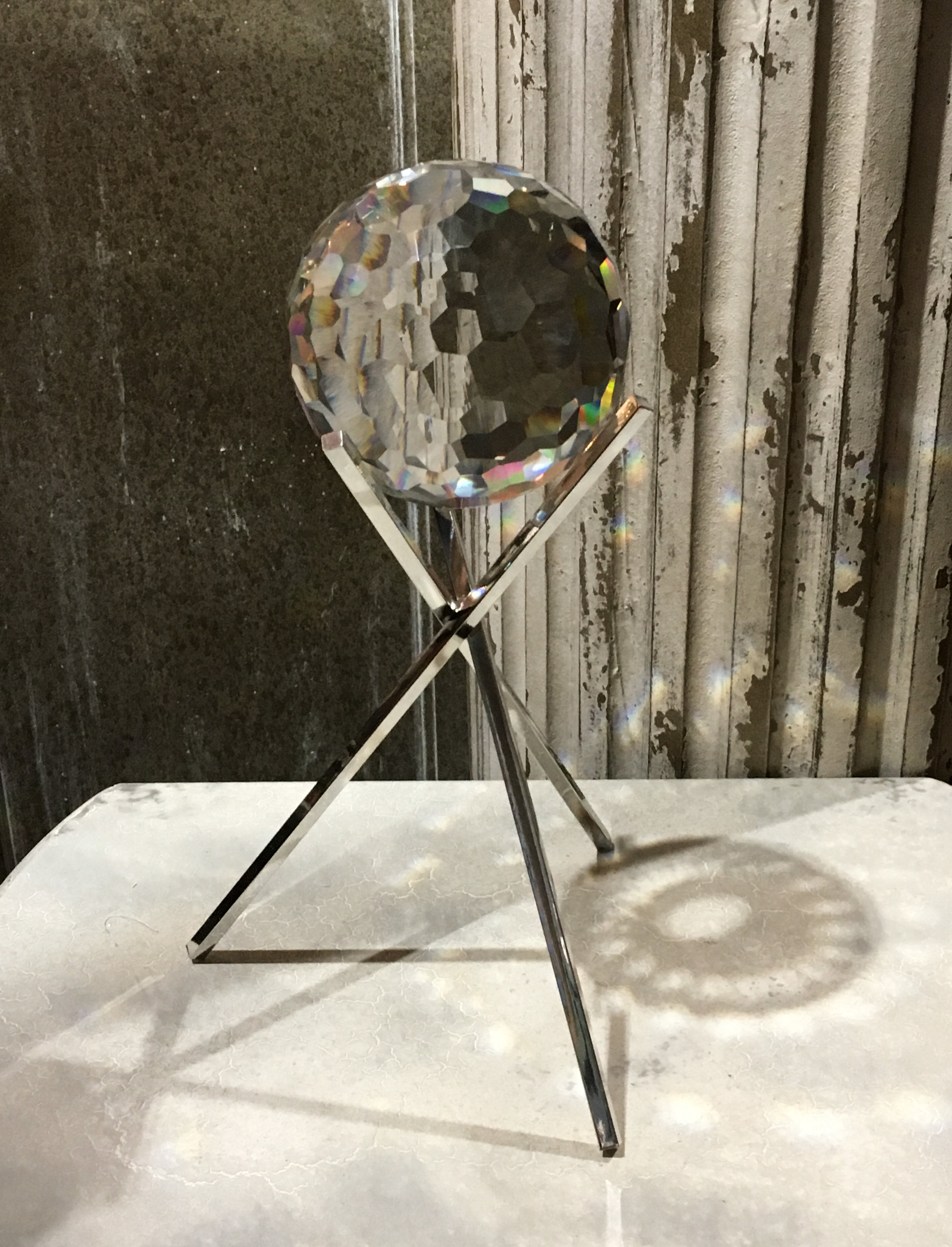 Cut glass ball on stand.JPG