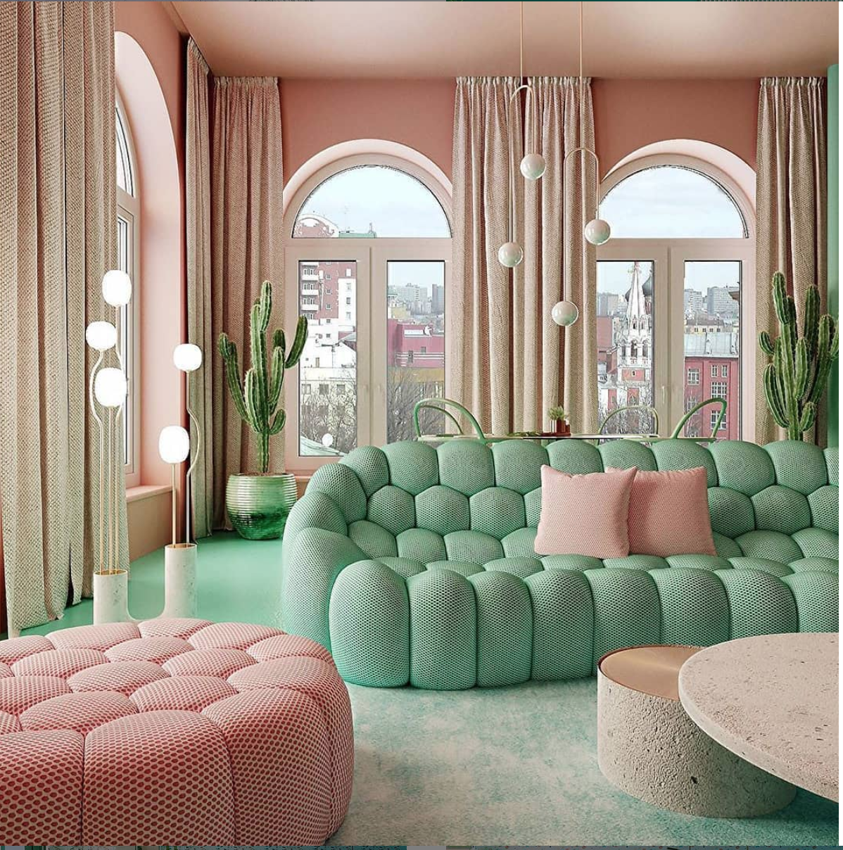 Combination of Mint and Coral in this Reutovdesign scheme in St Petersburg