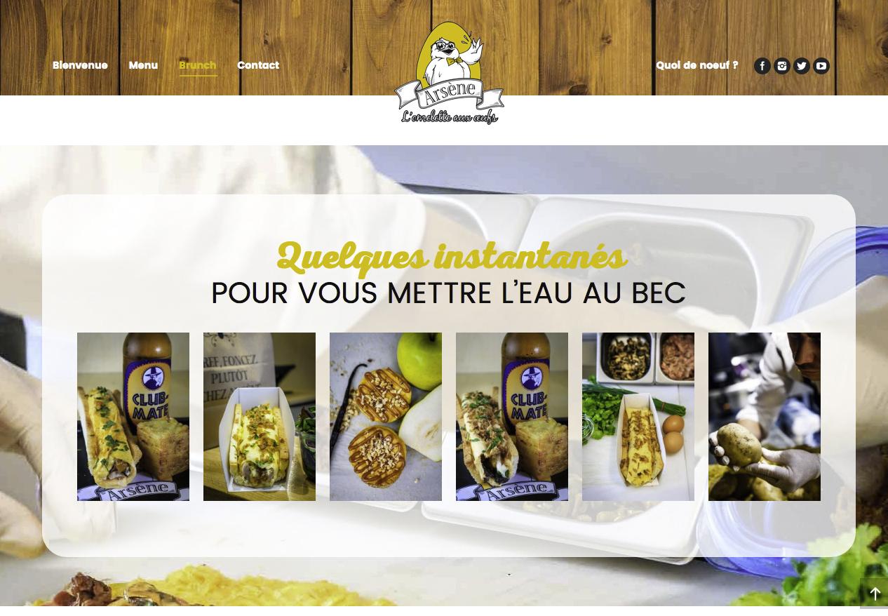 """ARSENE L'omelette aux oeufs   """"Chez Arsène, l'omelette se consomme à la main, sur une croustillante et délicieuse tuile de pain. Consultez nos recettes gourmandes ou composez vous-même votre omelette !""""  142 rue Saint-Denis 75002 Paris"""