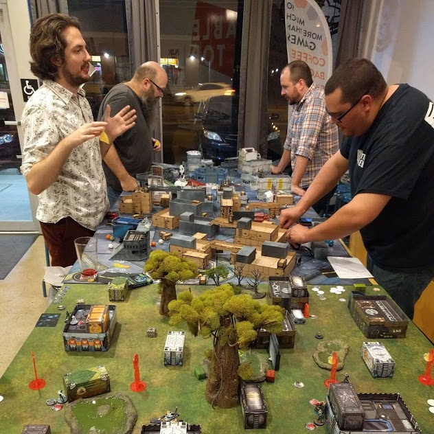 Infinity - Every Wednesday from 6:30 to close we host the Columbus Infinity Gaming Group.Infinity is a 28mm sci-fi miniature game, featuring small squad warfare. Played on intricately dense terrain , this game is played 1v1 and takes about an hour to an hour and a half to play one game.For more details head to their Facebook page.