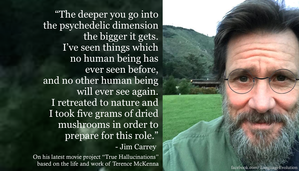 "Carrey seems to be greatly affected by the late philosopher Terence McKenna, when asked about why he was inspired to do this project he claims: "" Much of the problem of the modern dilemma is that direct experience has been discounted and in its place all kinds of belief systems have been erected."""