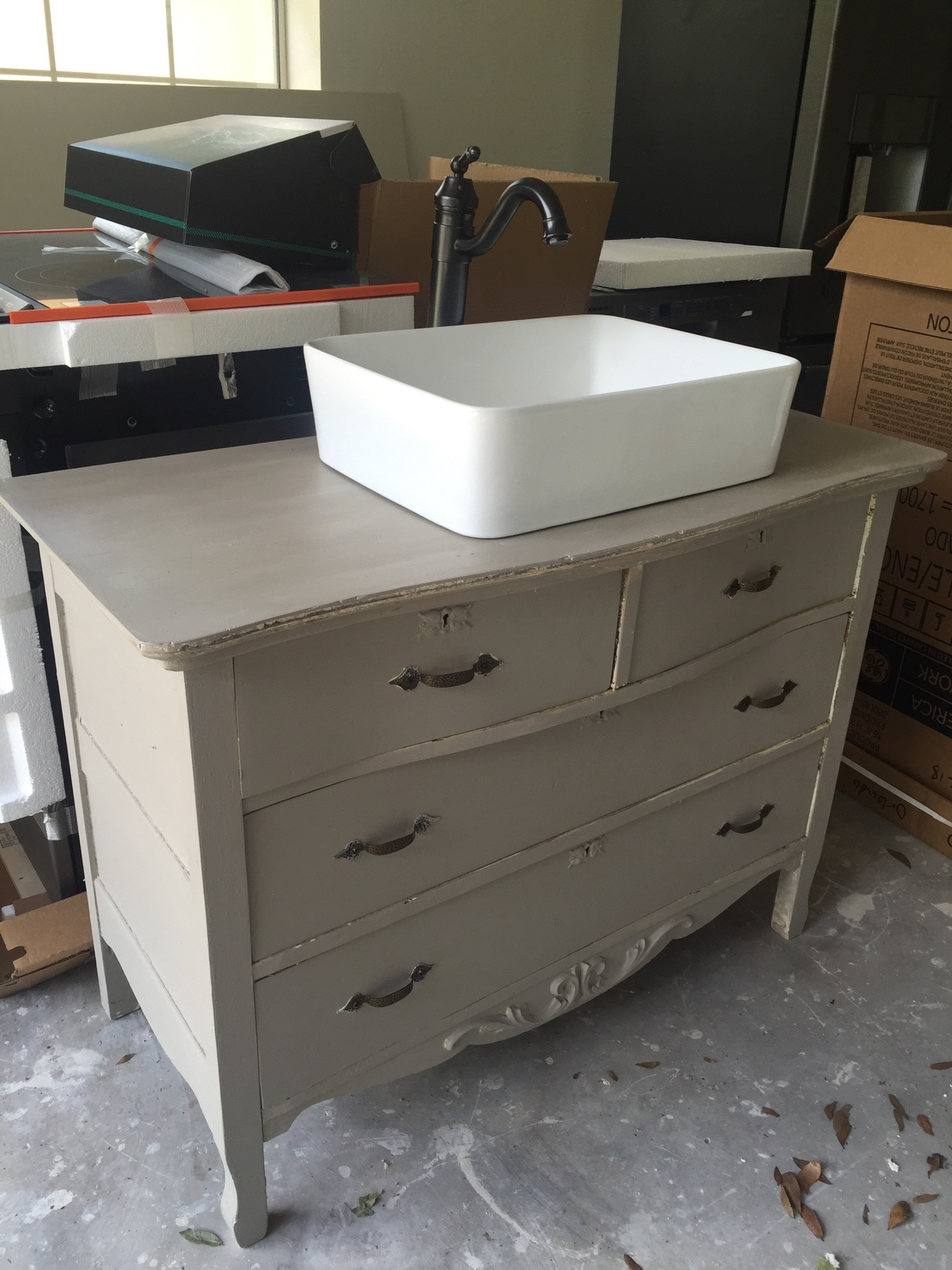 Our Craigslist dresser that will one day be the guest bathroom vanity